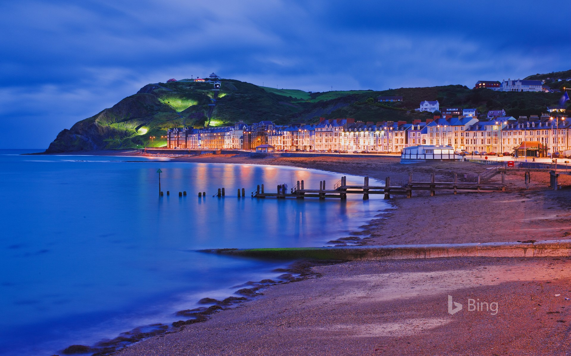 The seafront and promenade of Aberystwyth in Ceredigion, Wales