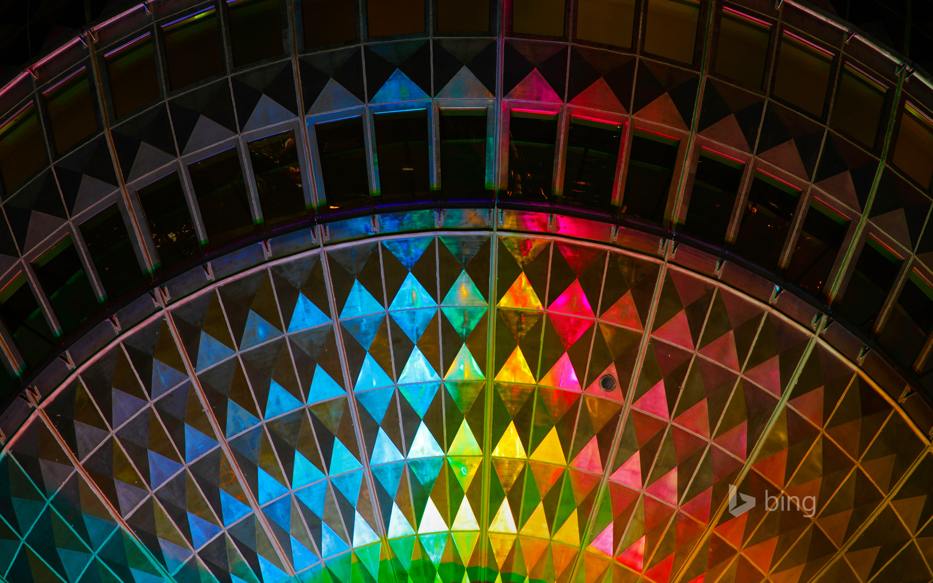 Detail of a television tower illuminated during the Festival of Lights in 2011, Berlin, Germany