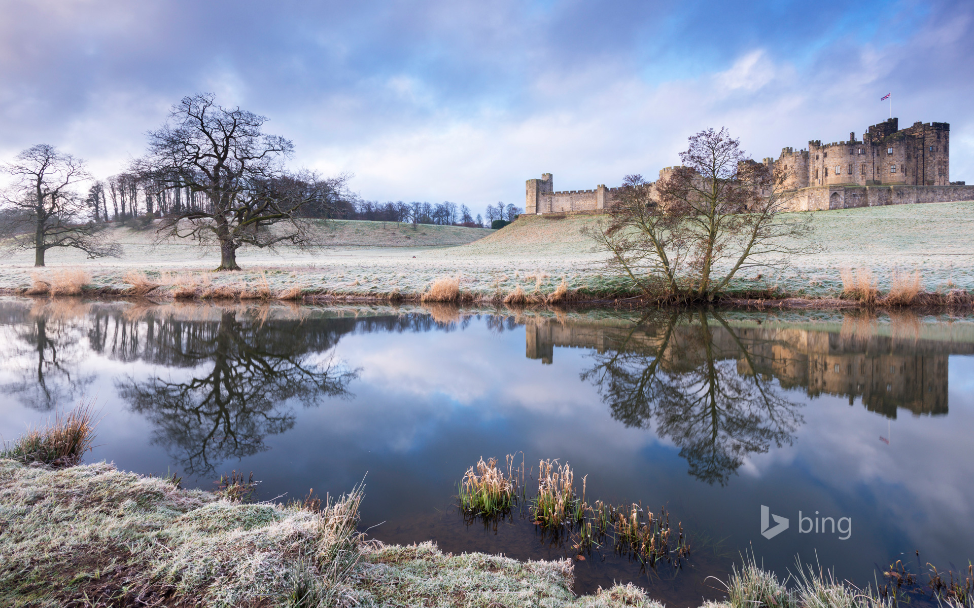 Alnwick Castle on a frosty winter morning in Northumberland, England