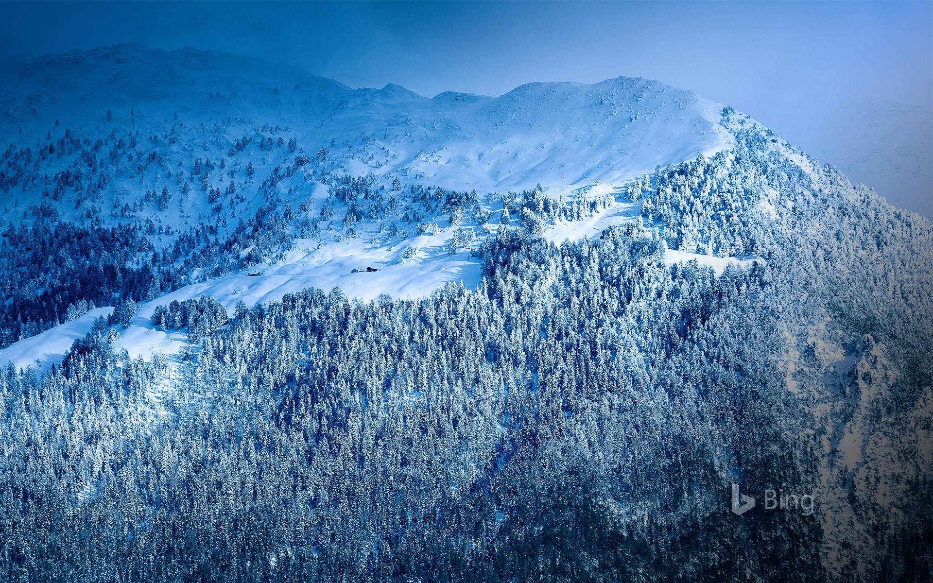 Panorama of the Alps under the snow, France