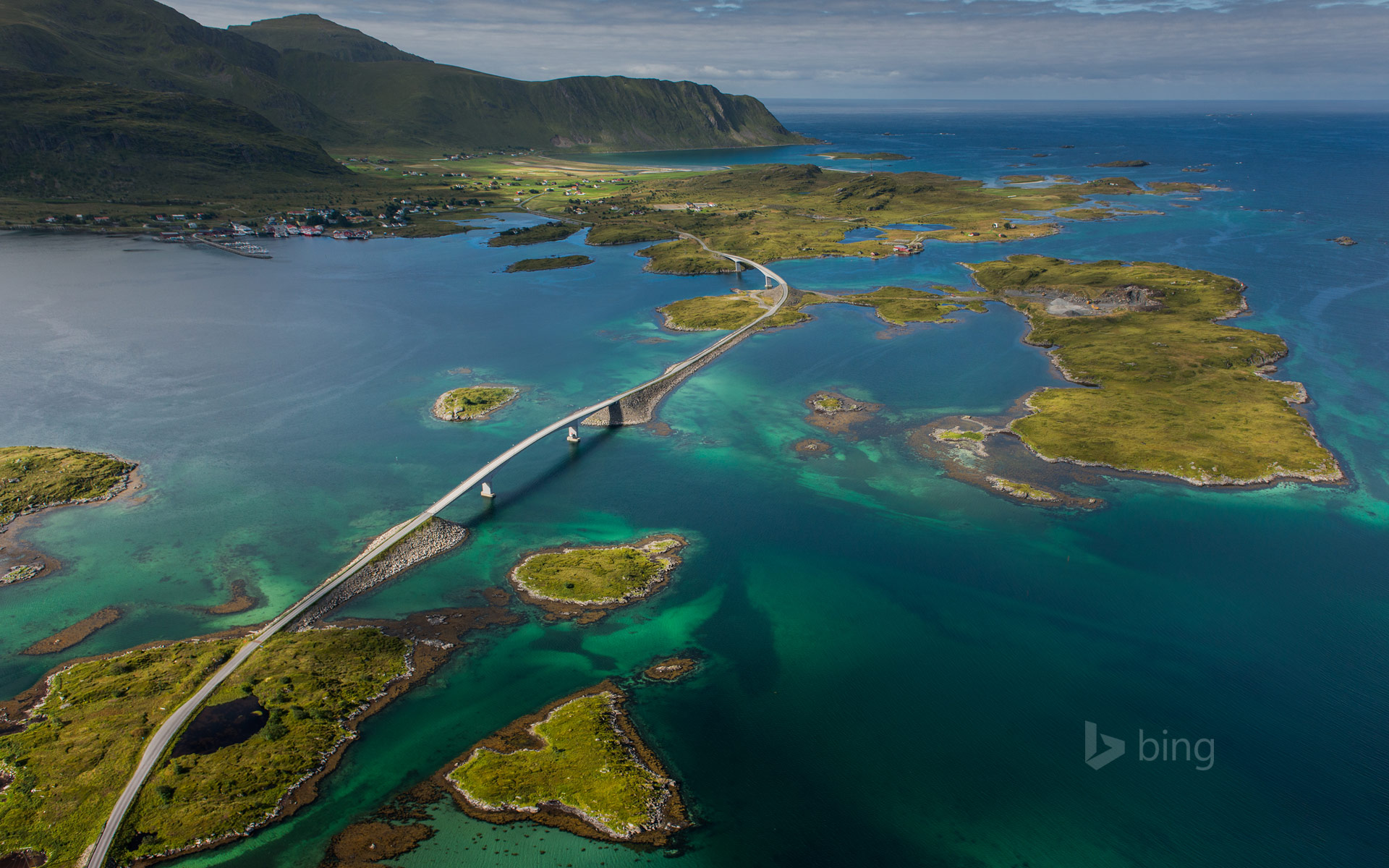 Bridge to the village of Fredvang on Moskenes Island in the Lofoten Islands, Norway