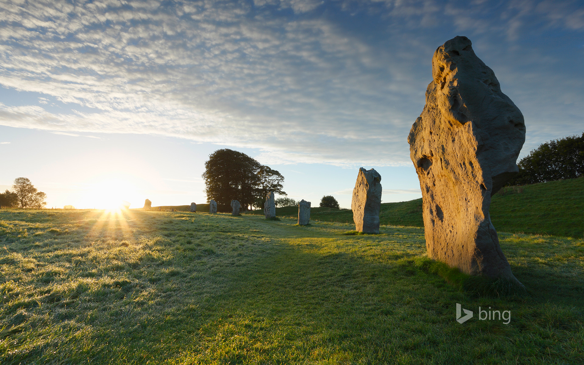 Neolithic standing stones are the Unesco World Heritage Site in  Avebury, Wiltshire