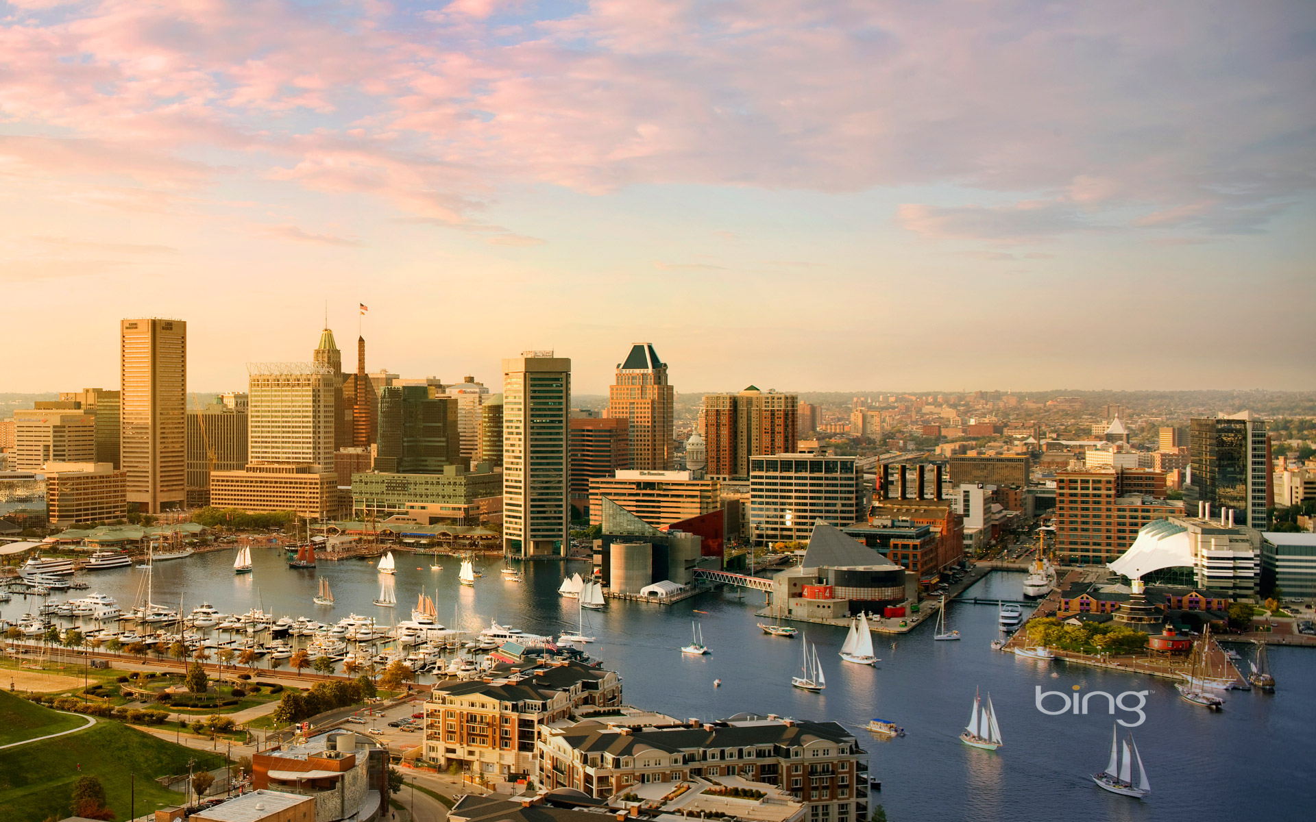 Baltimore skyline and the Inner Harbor, Maryland