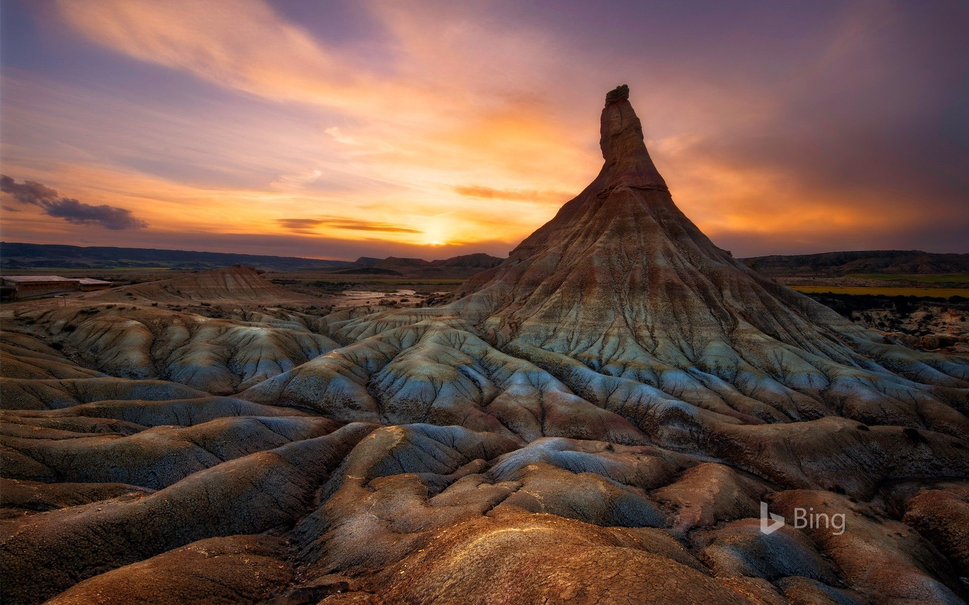 Colorful sunset over Castildetierra, in the Natural Park of Bardenas Reales, Navarre, Spain