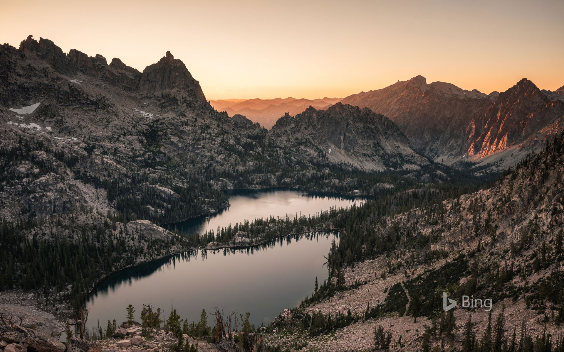 Baron Lake and Upper Baron Lake in the Sawtooth Wilderness in Idaho
