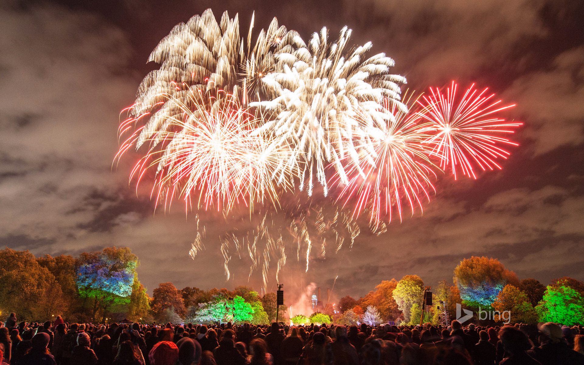 A fireworks display in Battersea Park, London