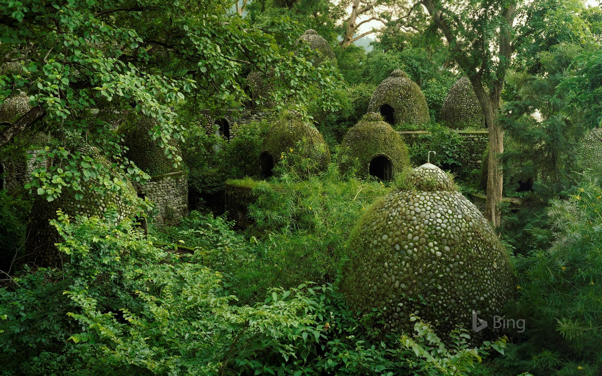 Meditation domes at the Beatles Ashram in Rishikesh, India