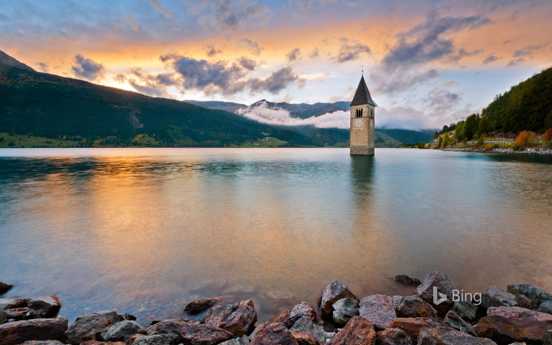 The bell tower in Lake Reschen in South Tyrol, Italy