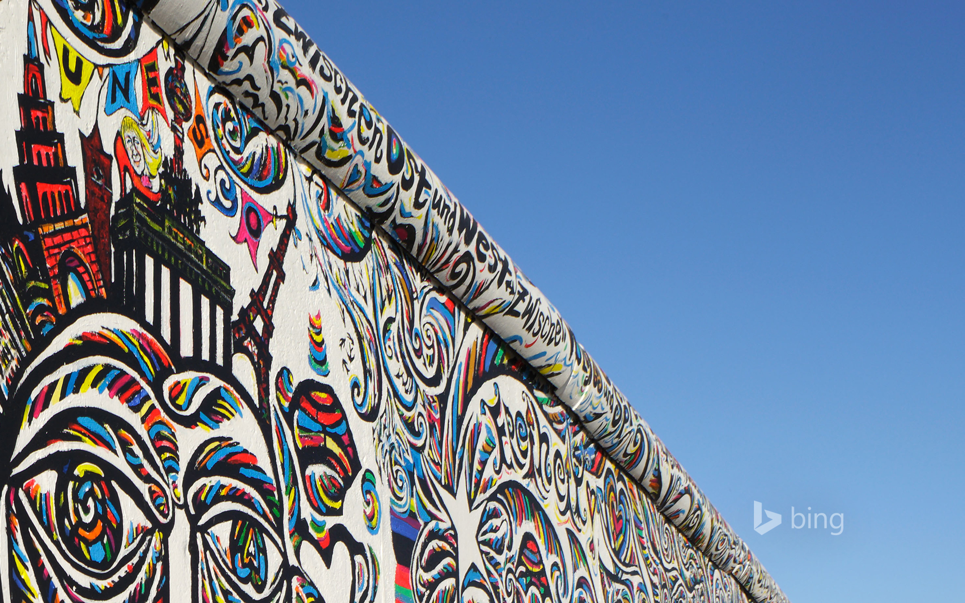Shamil Gimajew's 'We Are A People' on the renovated East Side Gallery of the Berlin Wall, Berlin, Germany