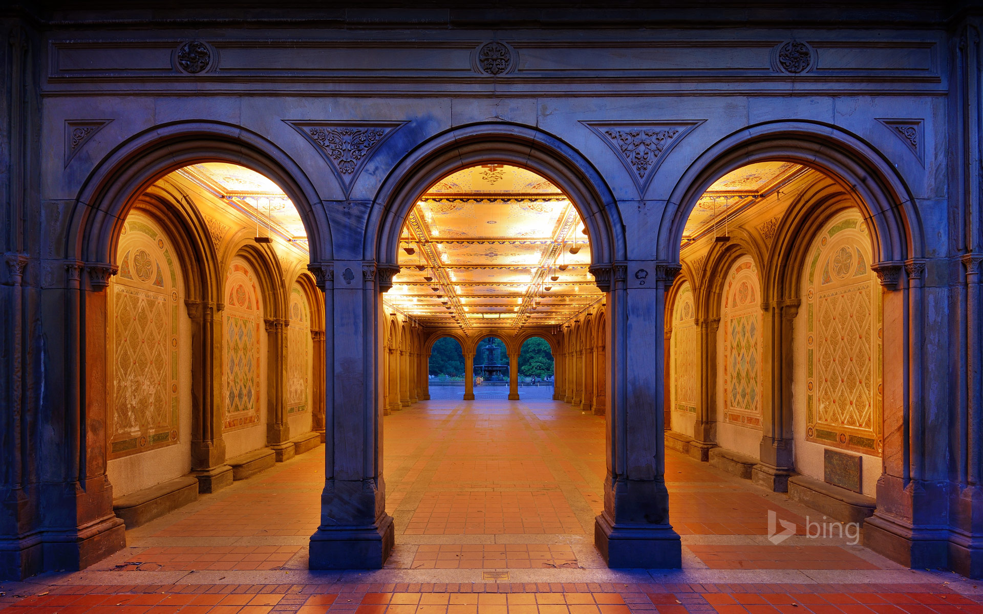 Bethesda Terrace's lower passage in Central Park, New York City