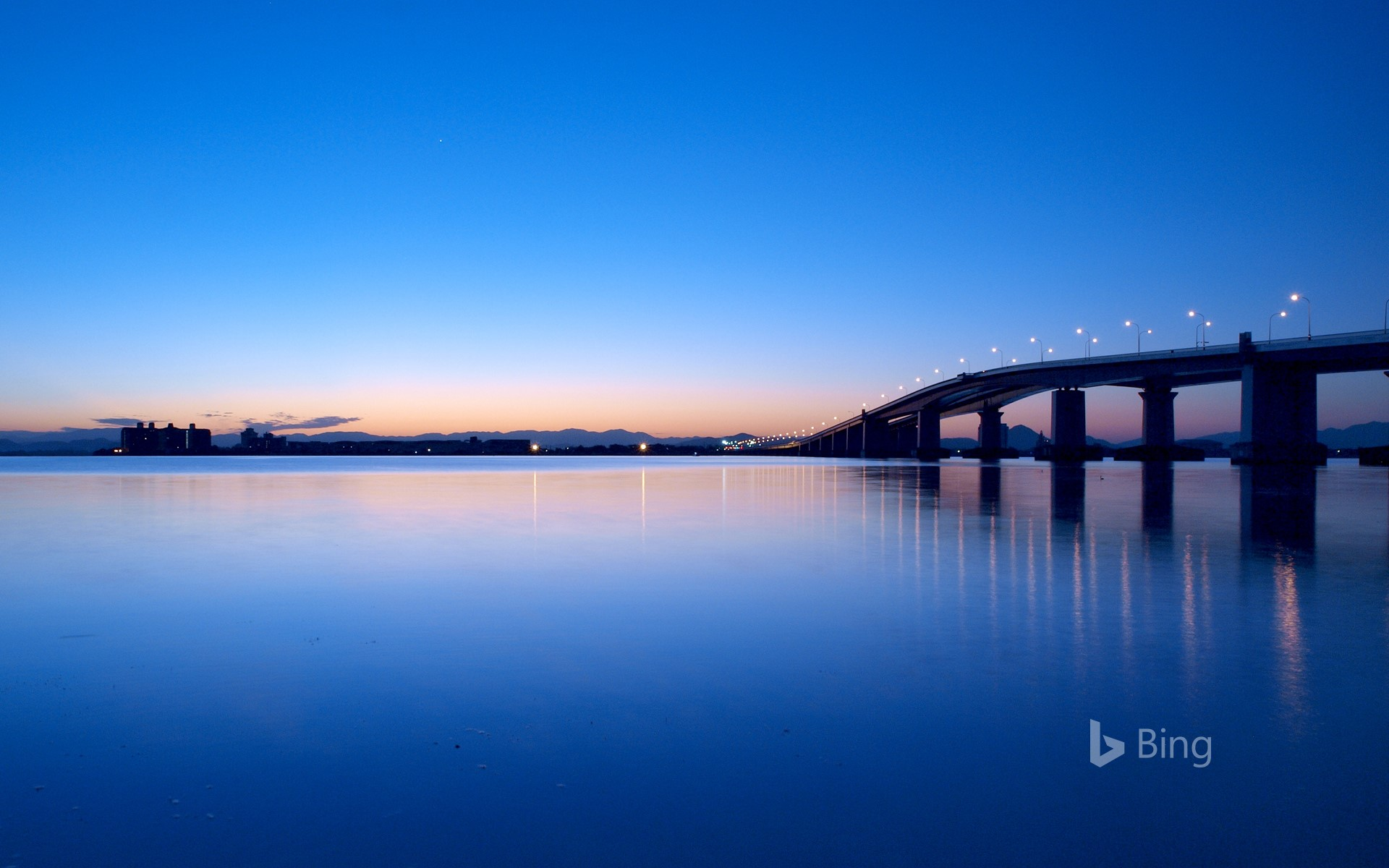 """Lake Biwa Ohashi at dawn"" Shiga"