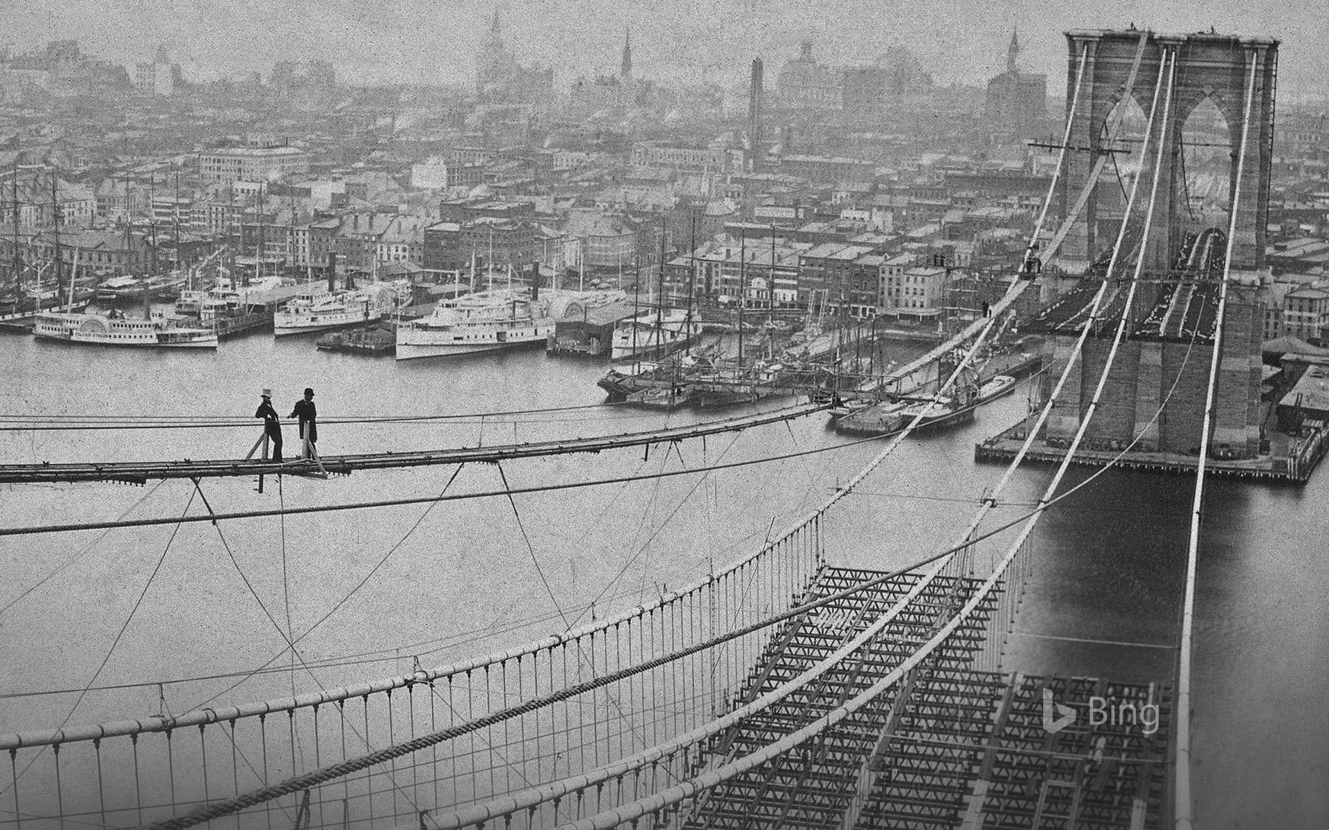The Brooklyn Bridge under construction in New York, USA, in 1883
