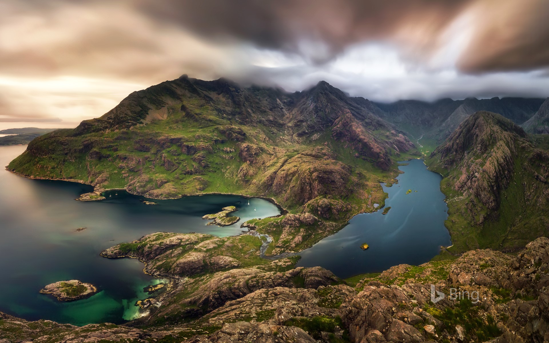 Loch na Cuilce and Loch Coruisk with the Black Cuillin in the background, Isle of Skye, Scotland