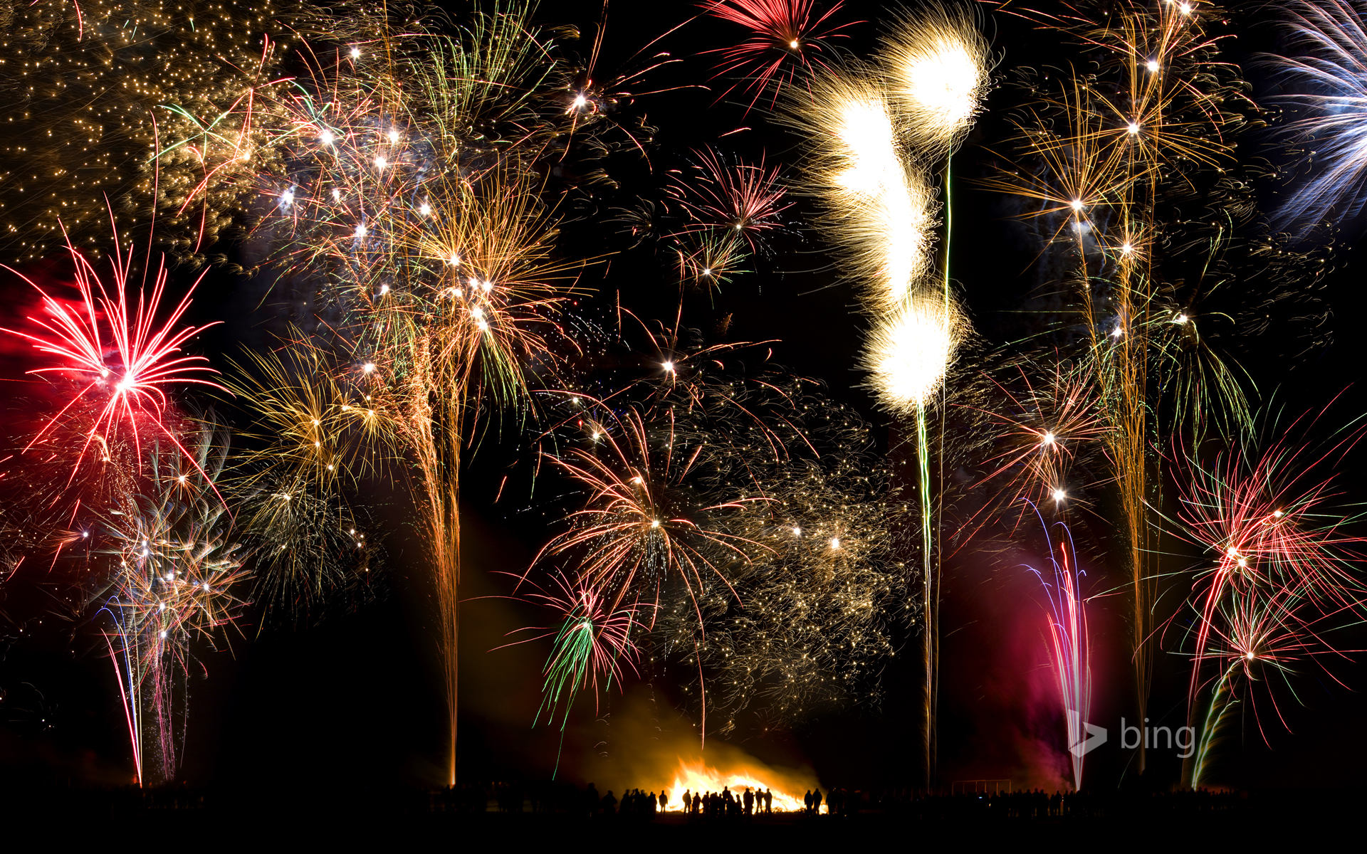 Bonfire and firework display to celebrate the 5th of November anniversary of the 'Gunpowder Plot'