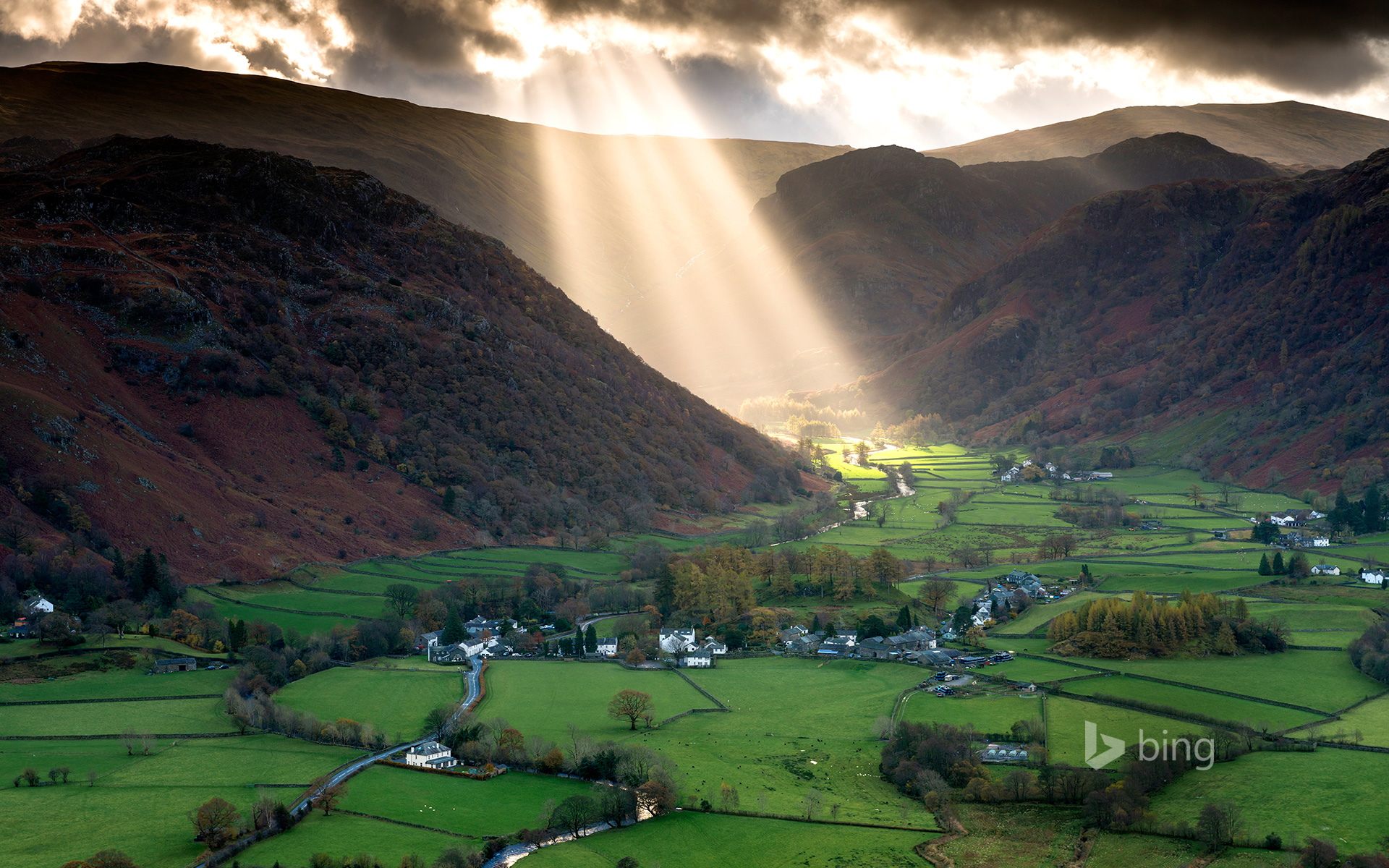 Shafts of light work their way across the Borrowdale valley in the English Lake District National park