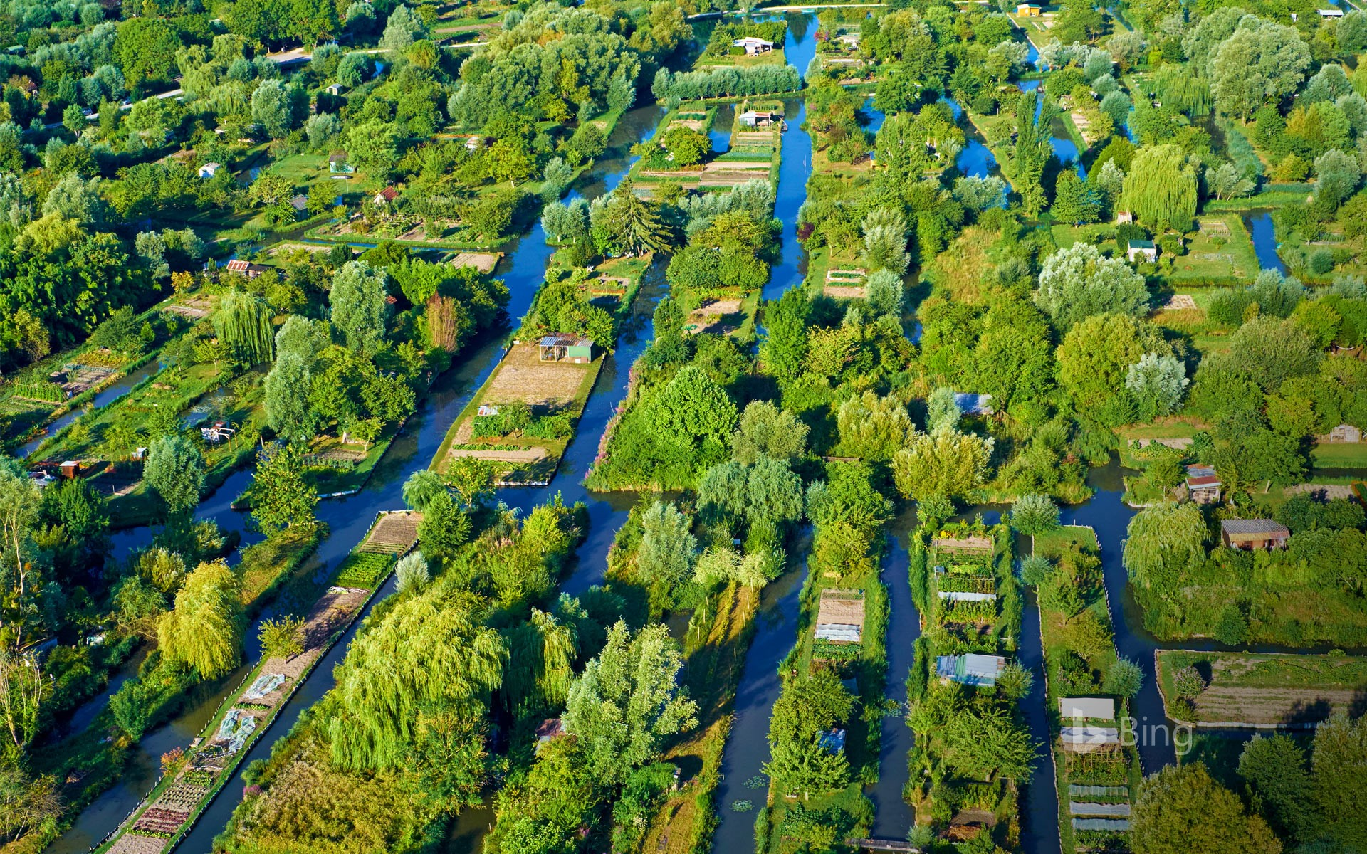 Aerial view of the marsh at Bourges, France