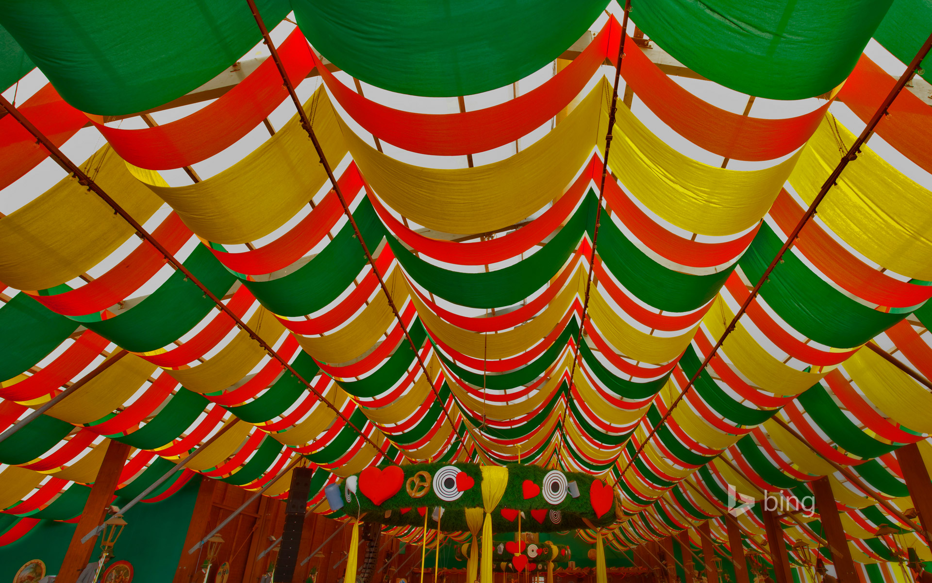Interior of a beer tent at Oktoberfest in Munich, Germany