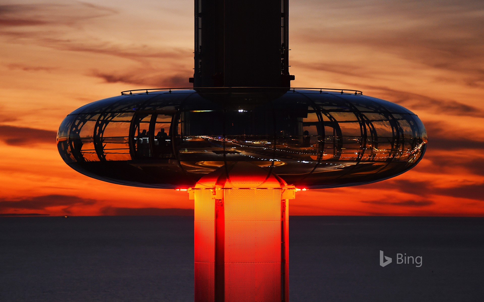 The British Airways i360 tower at dusk on the seafront of Brighton