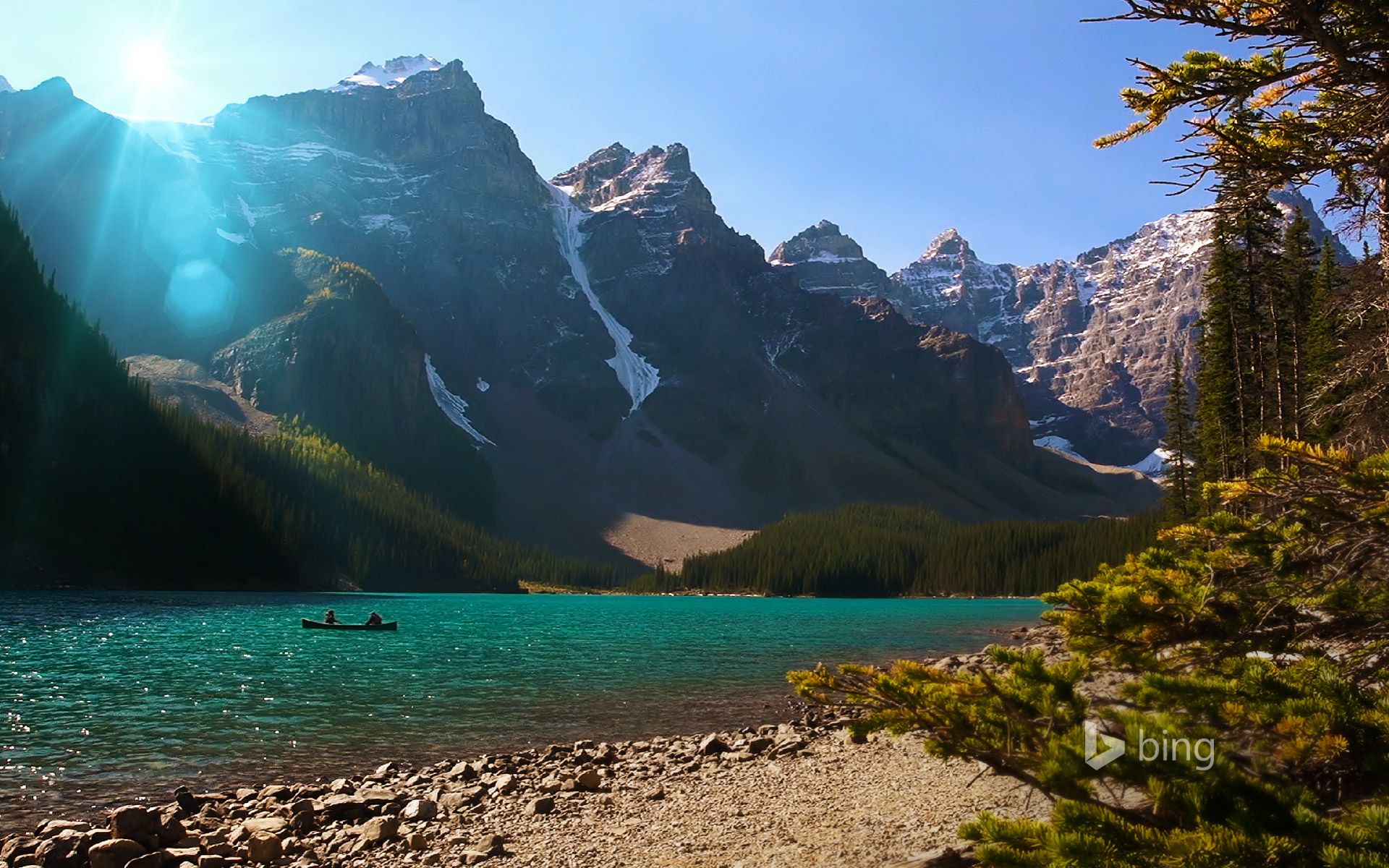Canoe on Moraine Lake in Banff National Park, Alberta, Canada