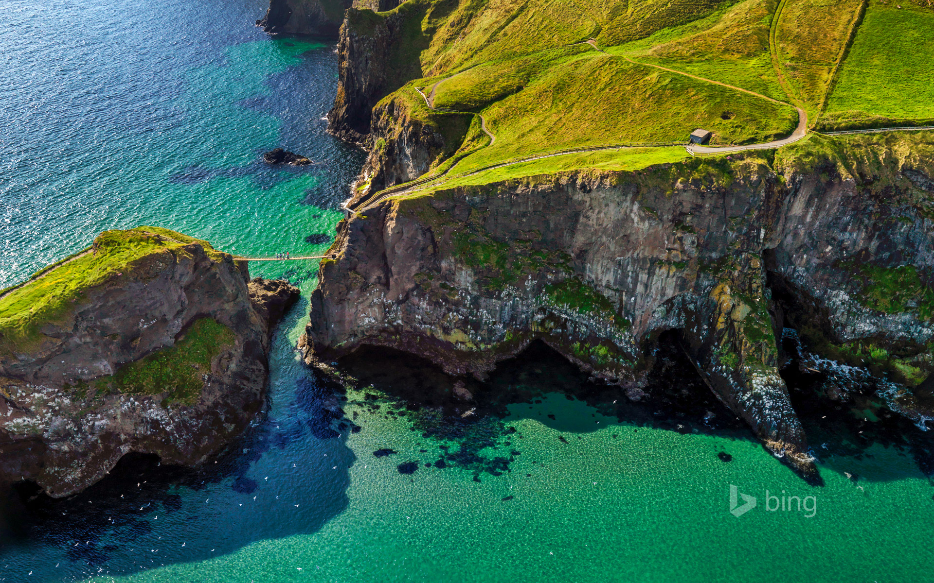 Carrick-a-Rede rope bridge near Ballintoy, Northern Ireland