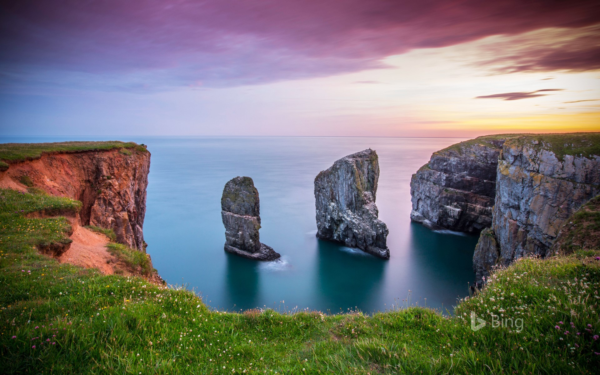 Stack Rocks at Castlemartin on the Pembrokeshire coastline, Wales