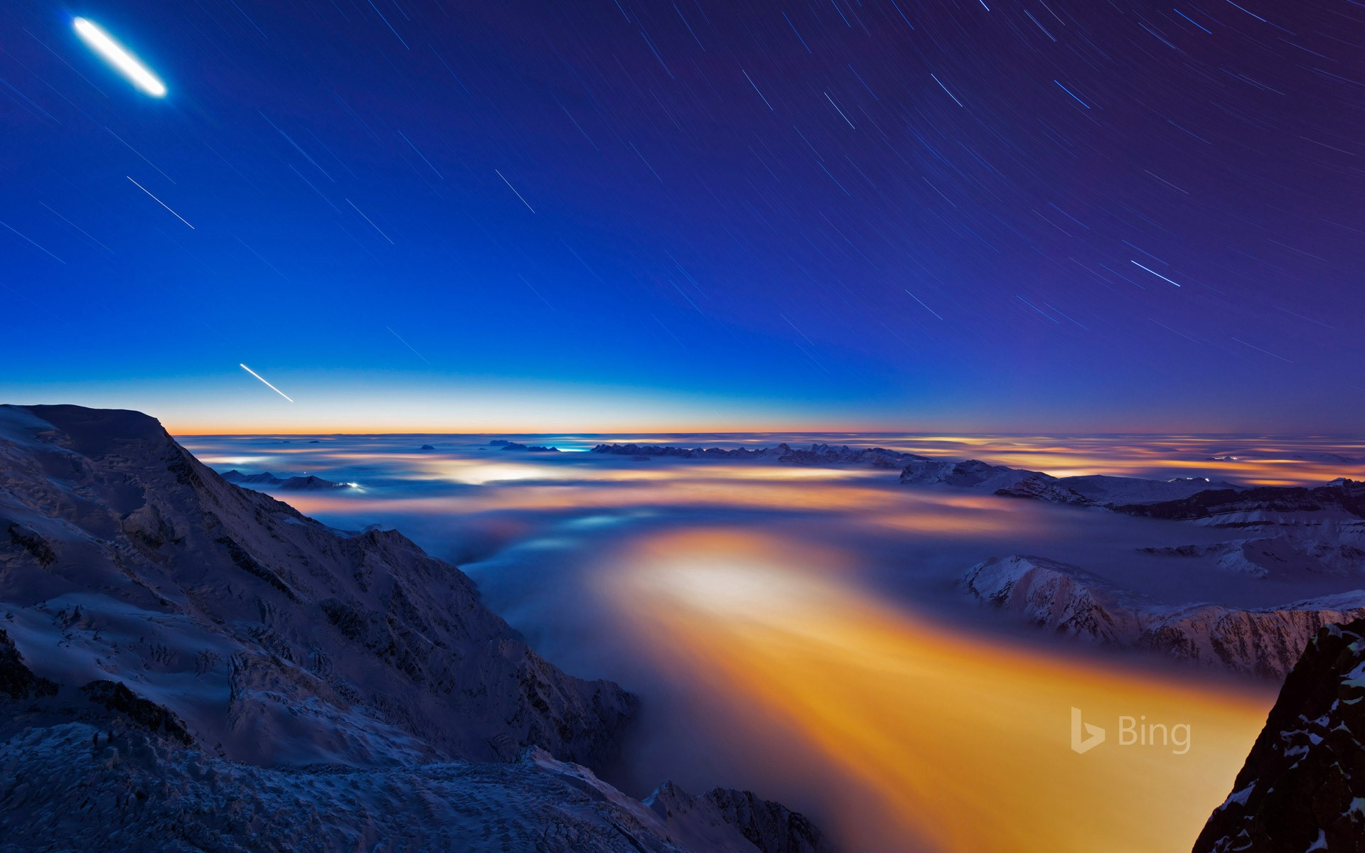 Sea of clouds over Chamonix Valley, France