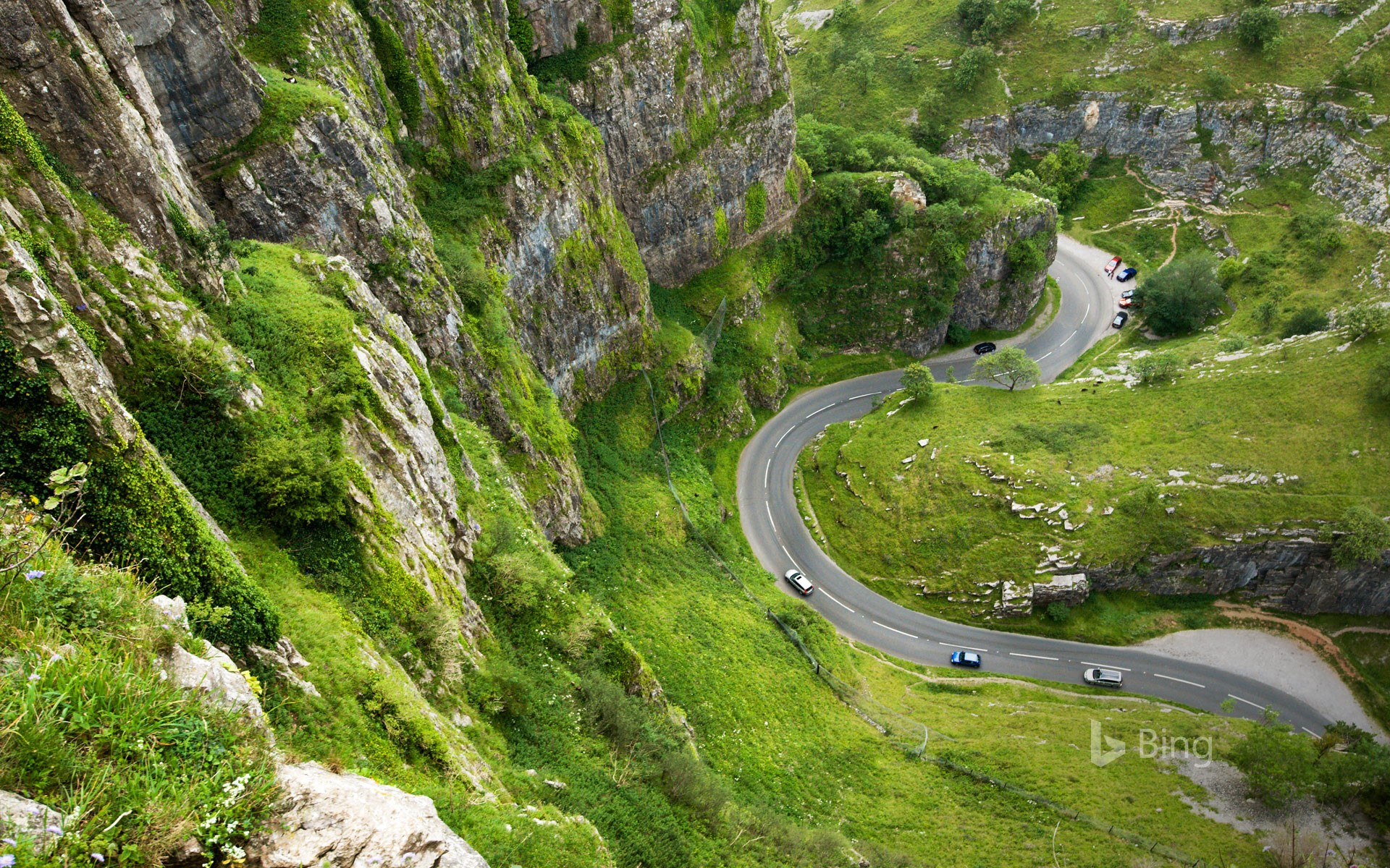 A road winding through Cheddar Gorge, Somerset