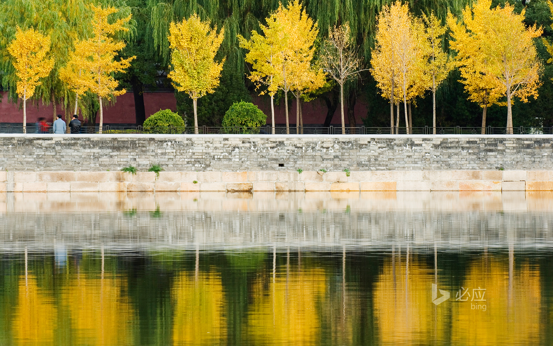 China, Beijing, autumn reflected in the moat of the Forbidden City