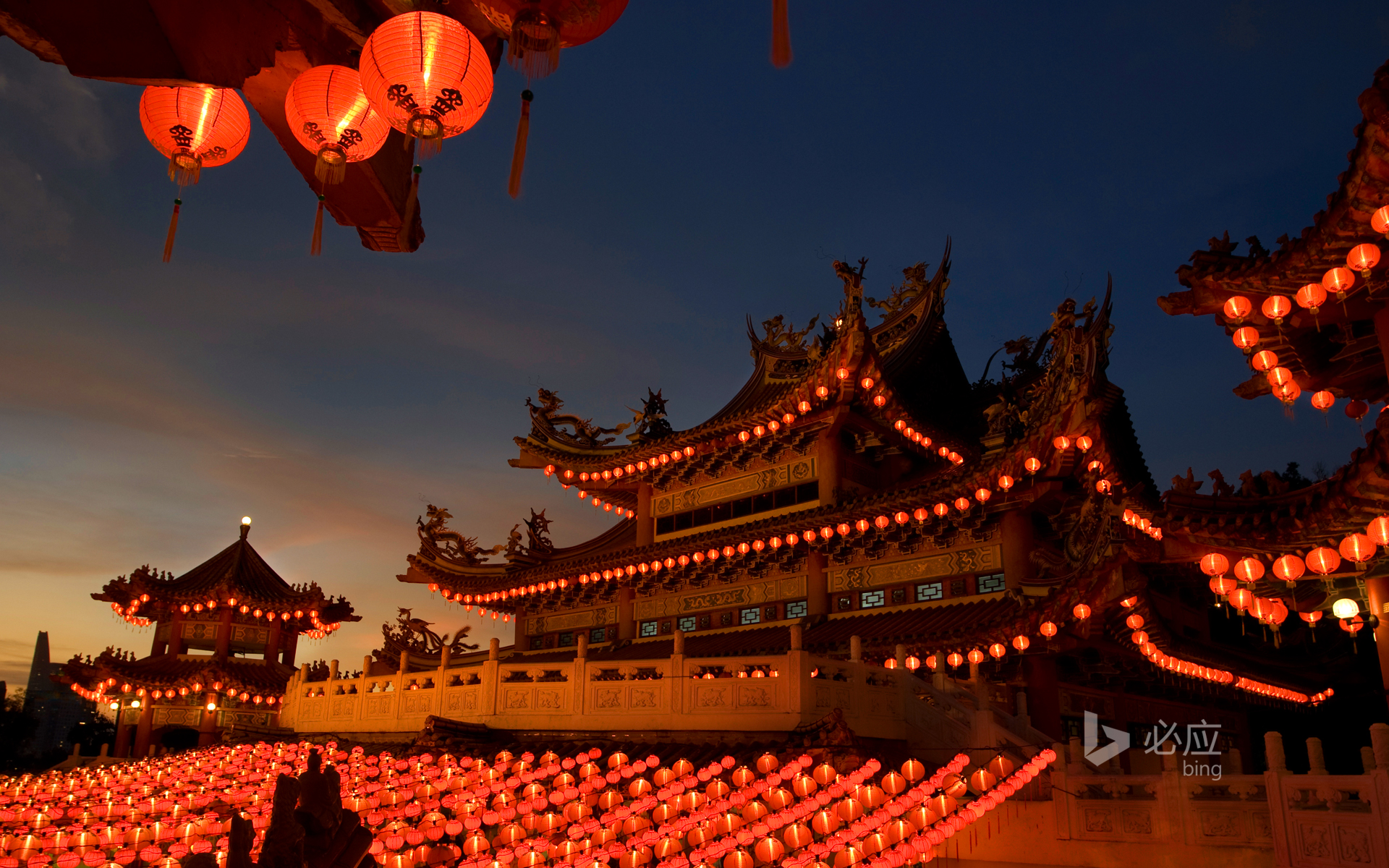Chinese temple with red lanterns