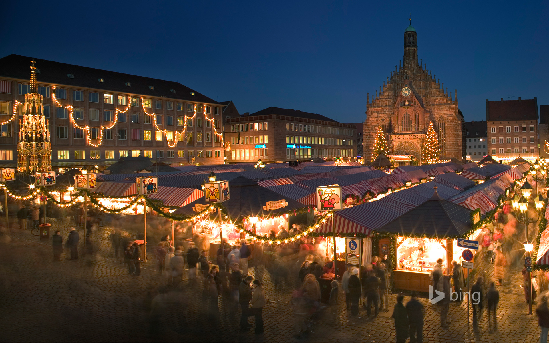 Panoramic view of the Christmas Market in Nuremberg, Bavaria, Germany