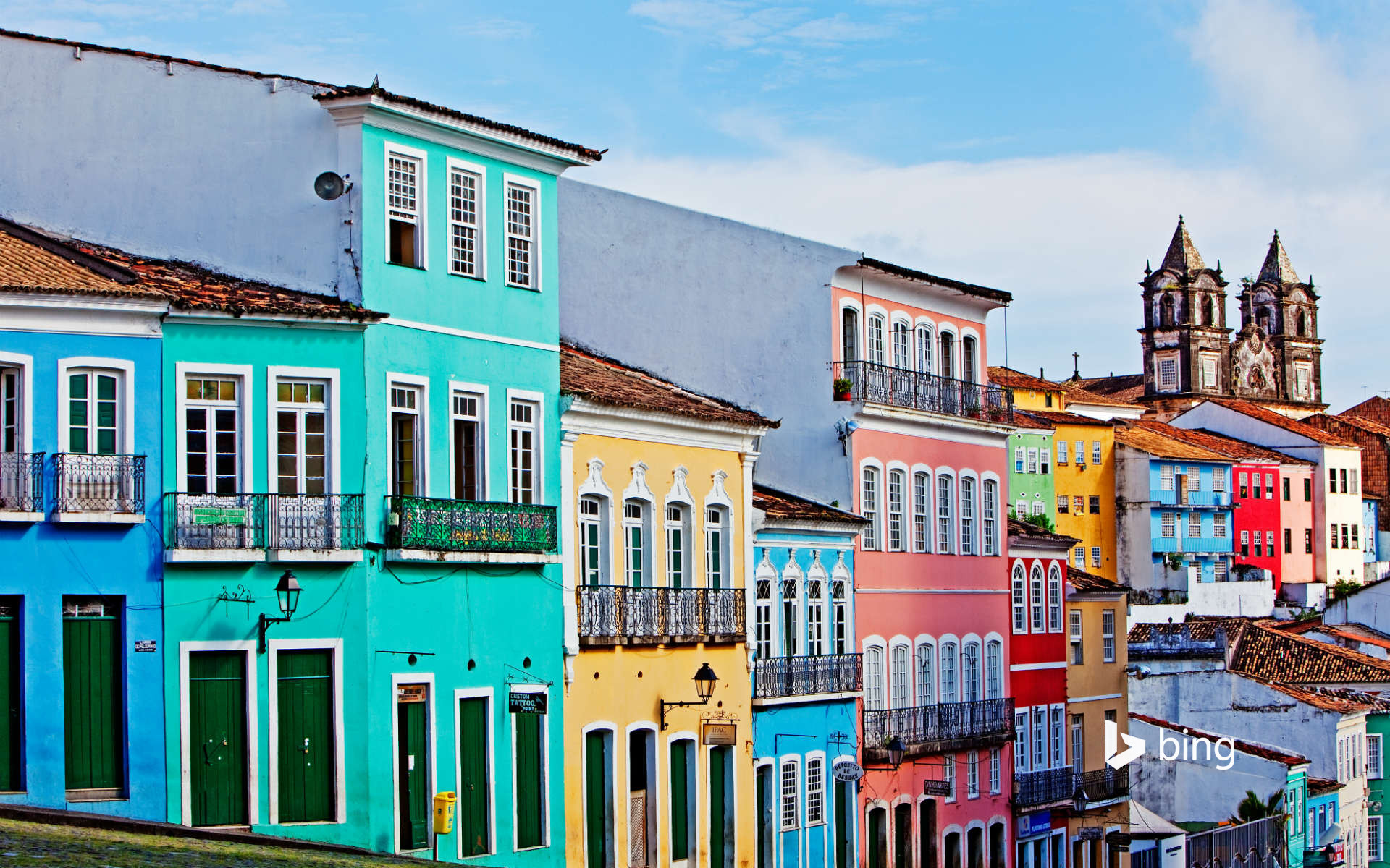 View of painted buildings, Salvador Bahia, Brazil