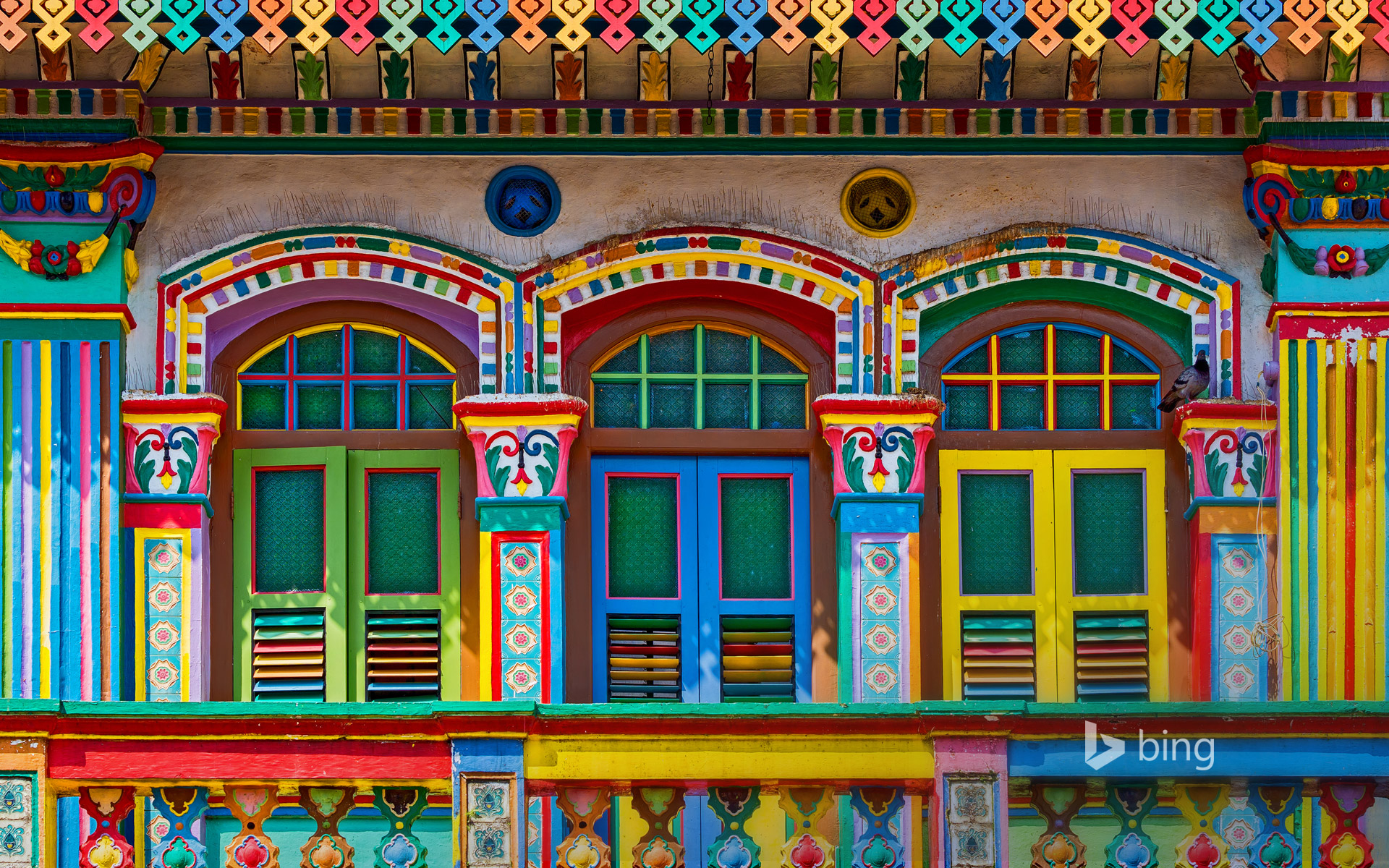 Colourful façade of a building in Little India, Singapore