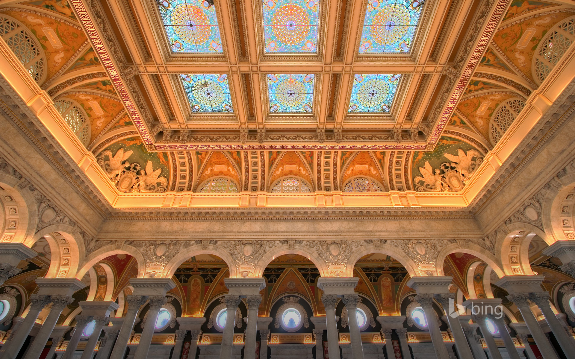 Entrance hall to the main reading room at the Library of Congress, Washington, D.C.