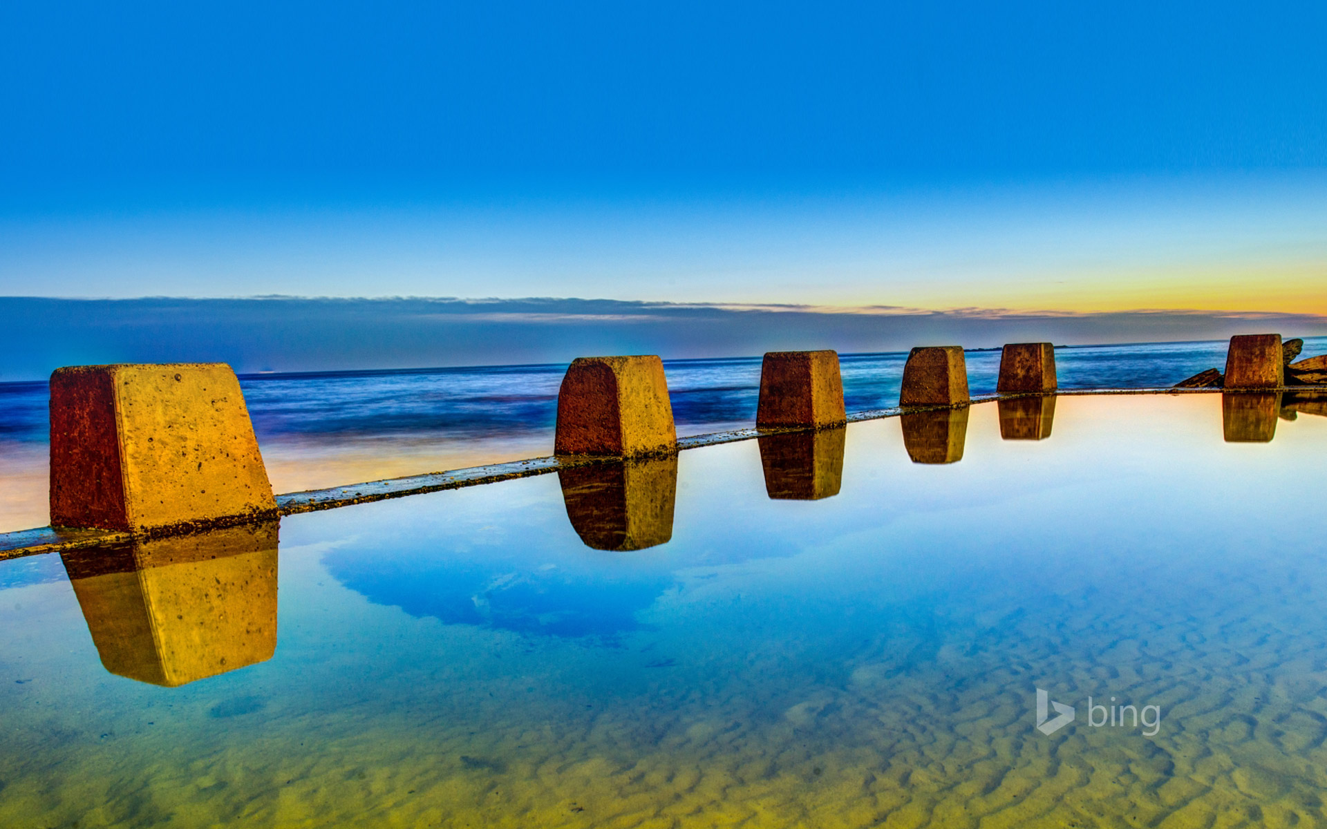 Pool at sunrise in Coogee, outside Sydney, New South Wales, Australia