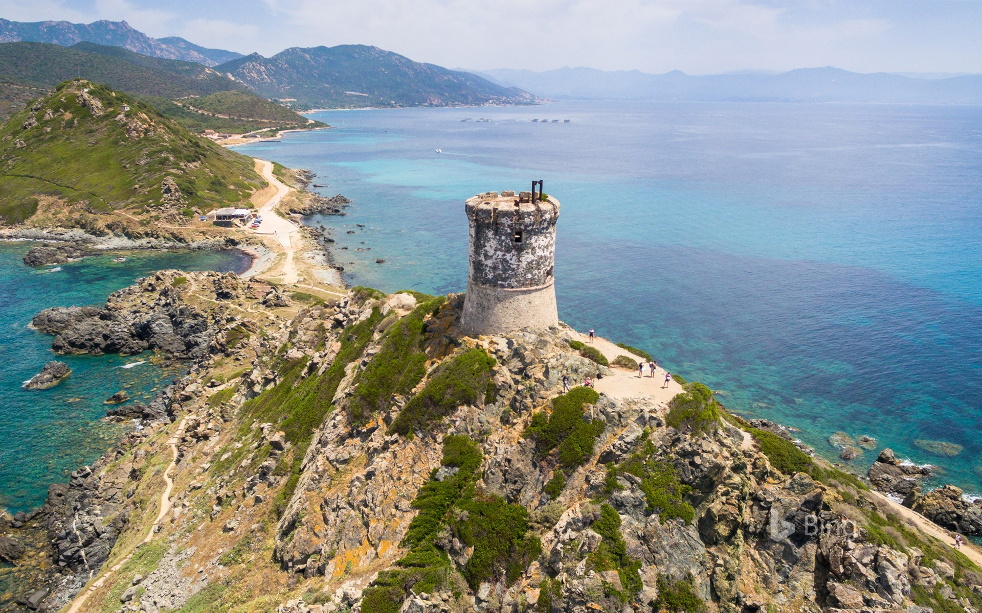 Aerial view of the Sanguinaires Islands in Corsica, France