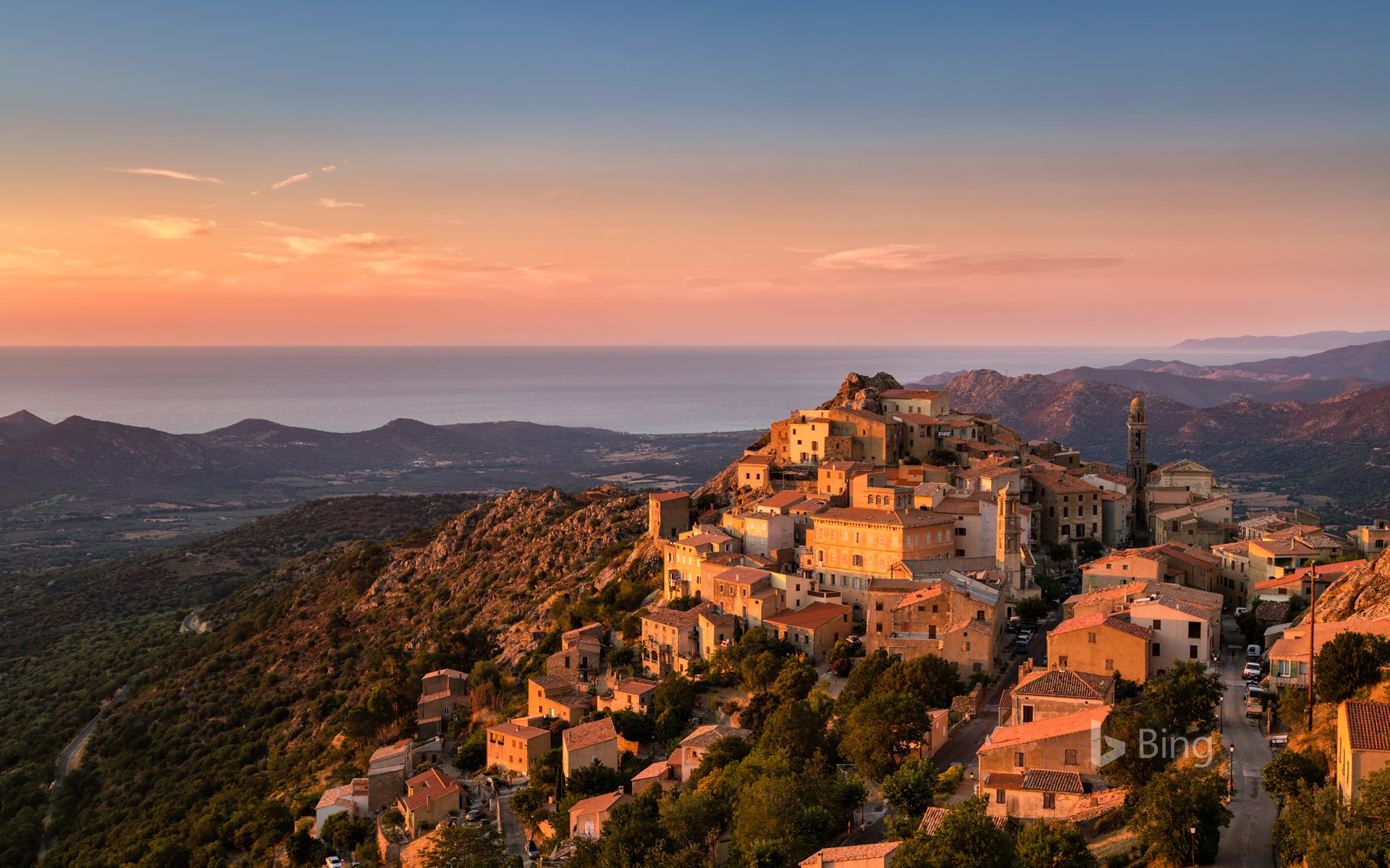 Evening sun on the perched village of Speloncato in Corsica