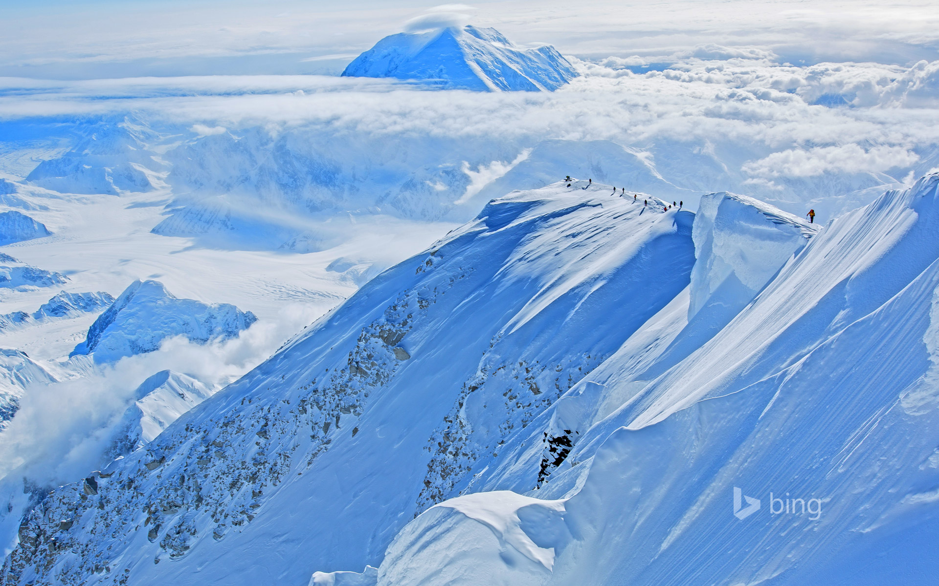 Climbers ascend Mount McKinley in Denali National Park and Preserve, Alaska, USA