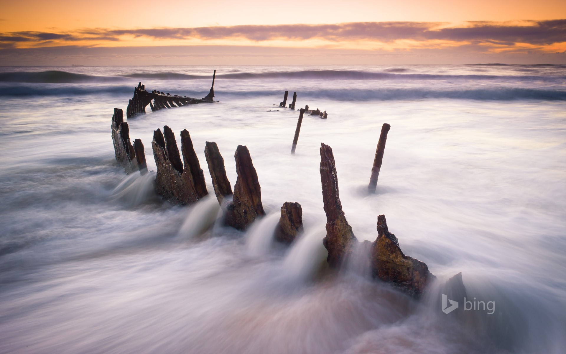 Wreck of SS Dicky at Dicky Beach in Caloundra, Queensland, Australia