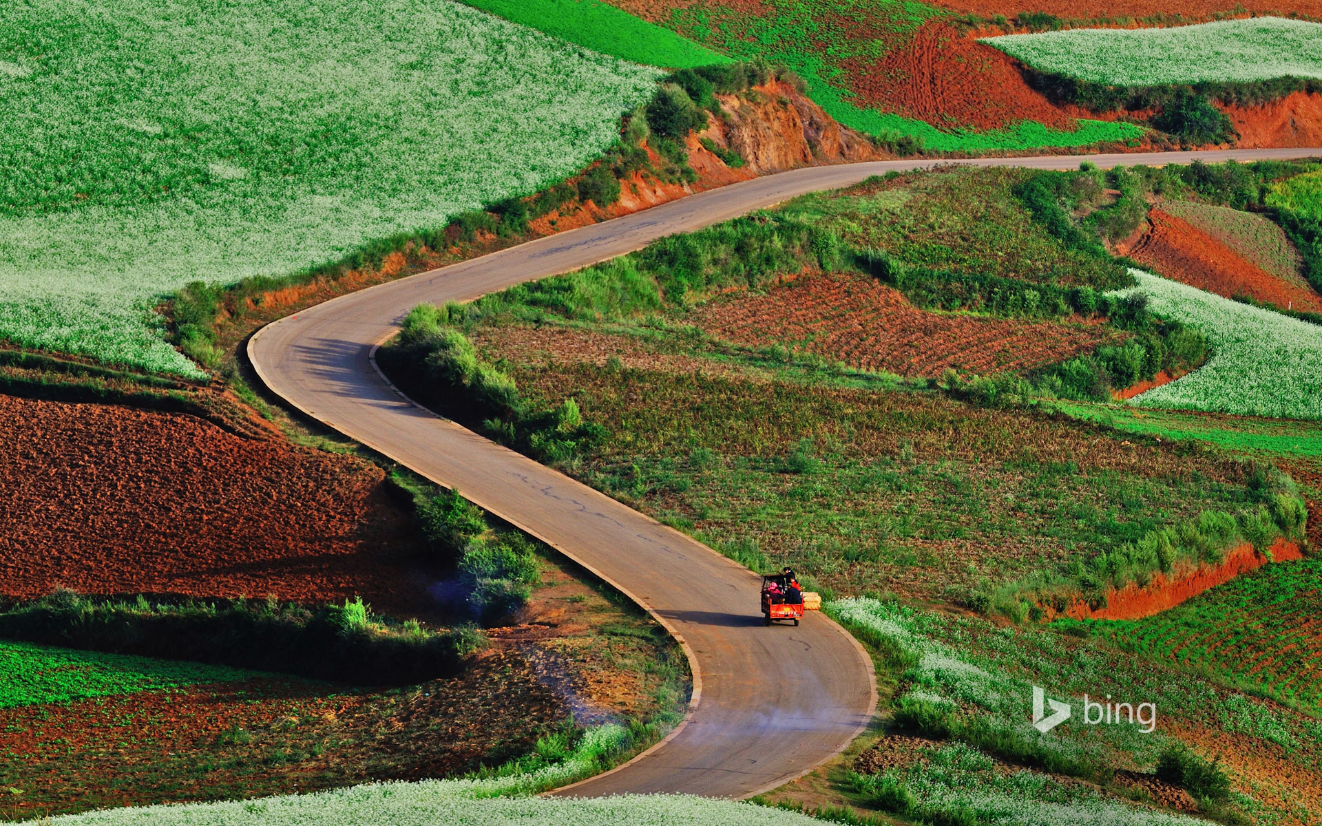 Rolling hills and red earth in Dongchuan, China