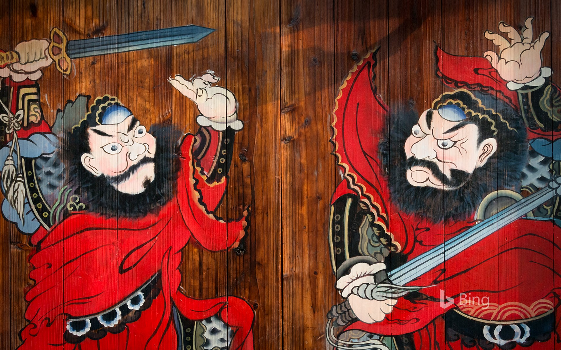 The door god painted in front of a house in Yuehe Ancient Town, Zhejiang