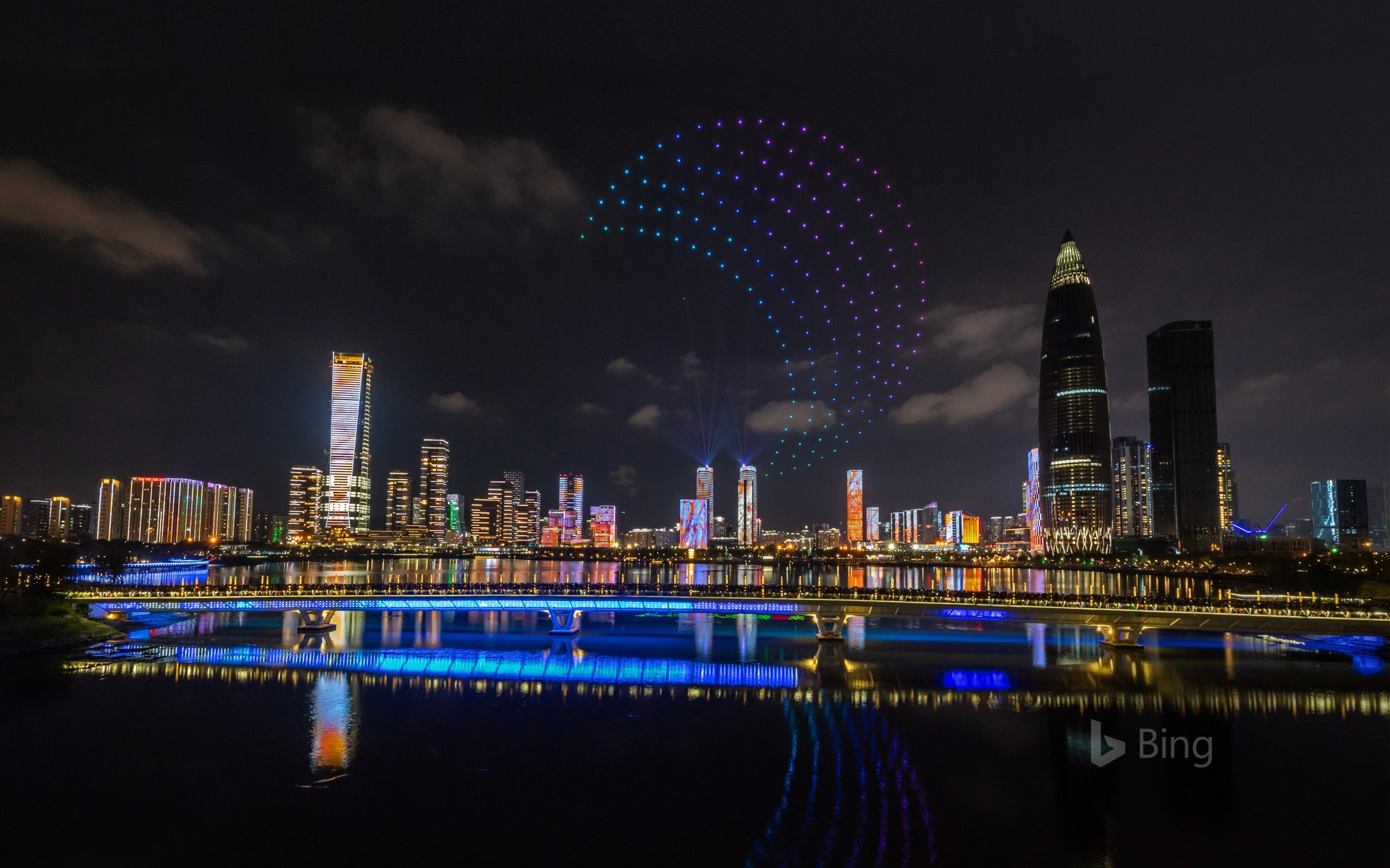 Drones light up the sky over Shenzhen, China