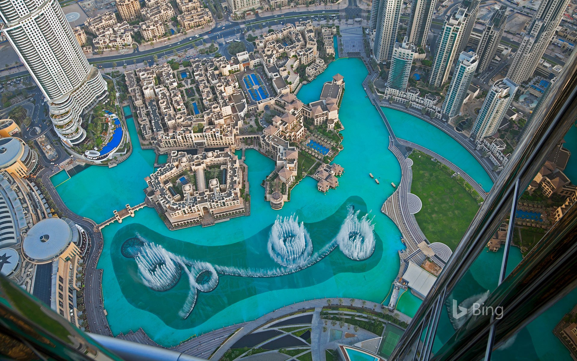 Dubai Fountain in the Burj Lake, taken from the Burj Khalifa, Dubai, UAE