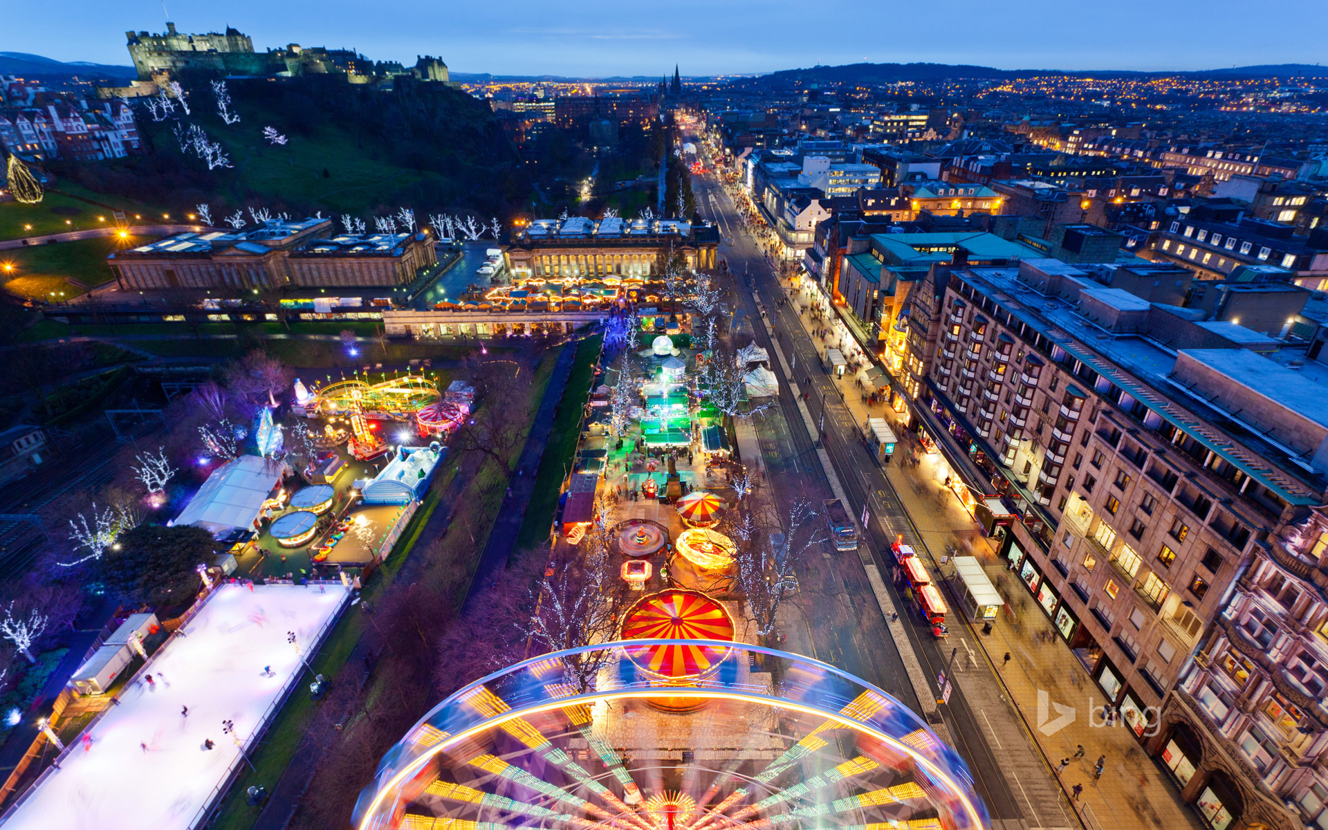 Christmas market on Princes Street, Edinburgh