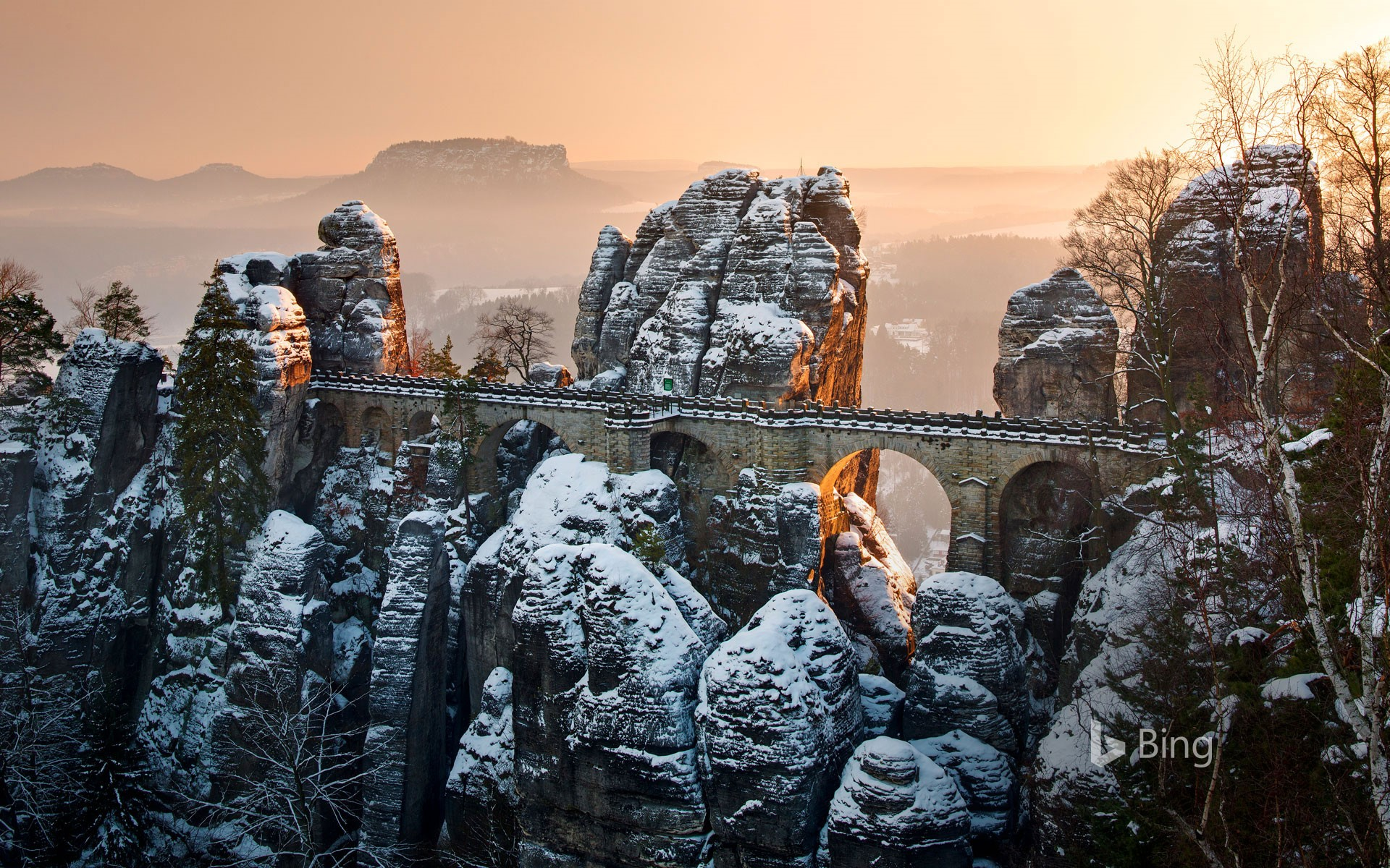Bastei Bridge above the Elbe river in Saxon Switzerland National Park, Germany