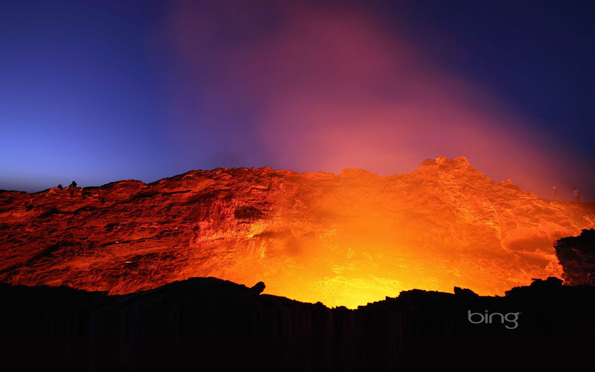 Lava lake in the glowing crater of Erta Ale volcano, Ethiopia