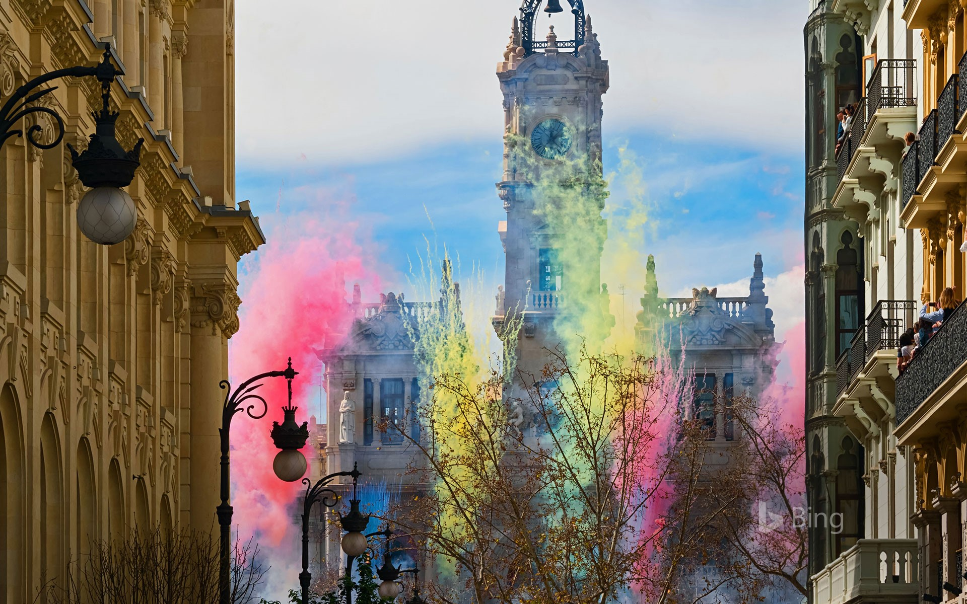 Fireworks at the Plaza del Ayuntamiento for Las Fallas festival in Valencia, Spain (© Helena G.H/Shutterstock)