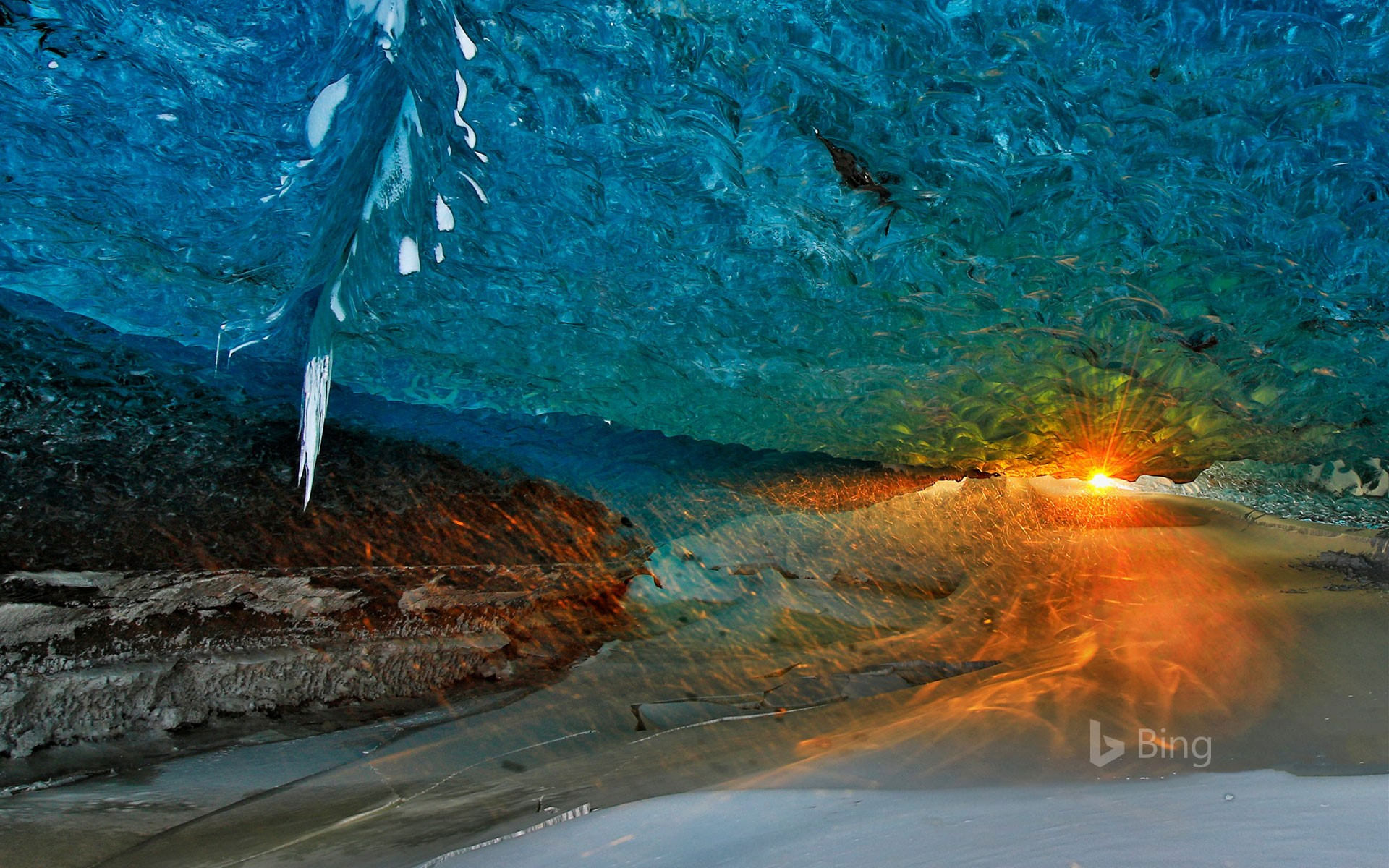 Ice cave at sunset in Vatnajökull National Park, Iceland
