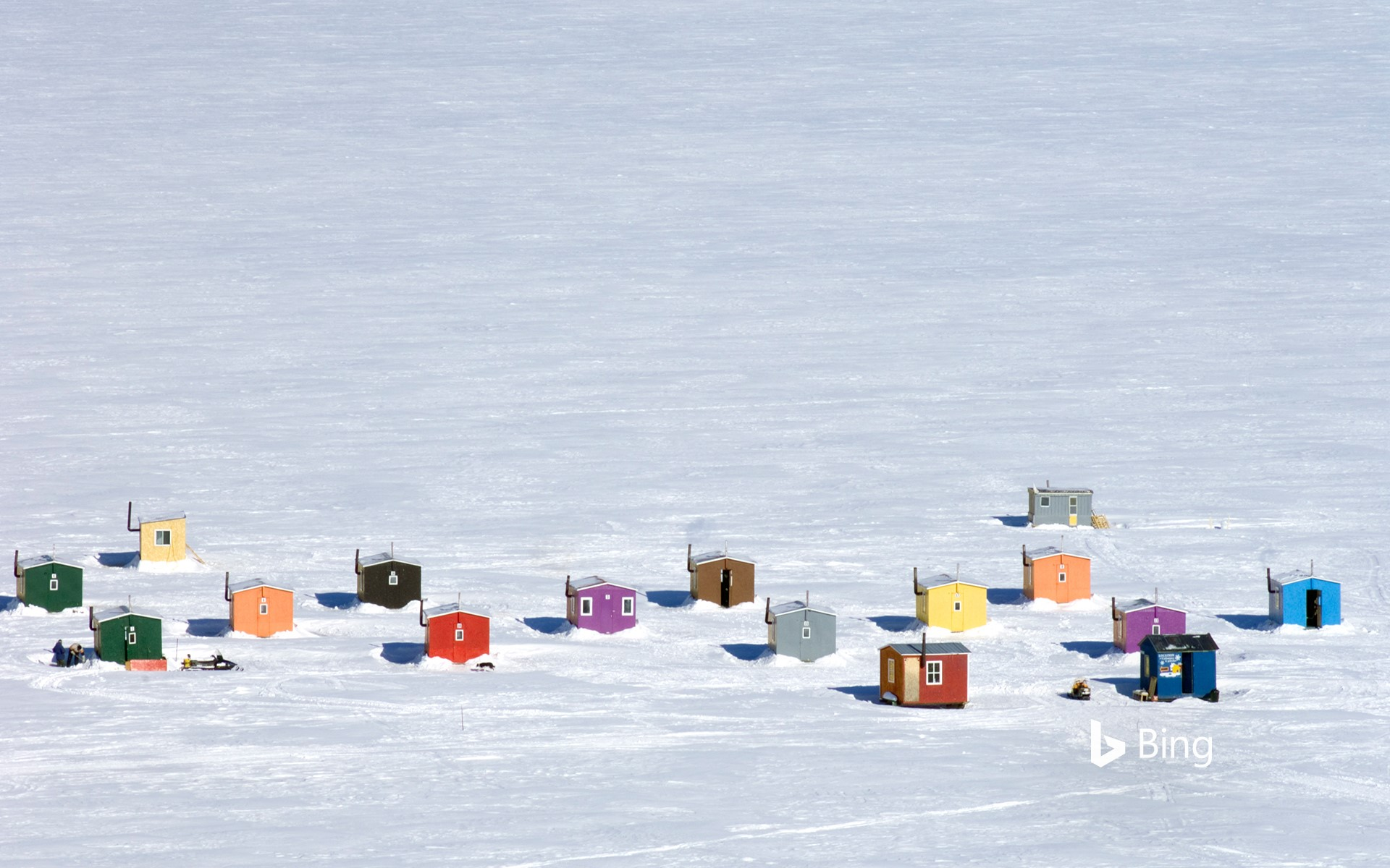 Ice fishing huts in L'Anse-St-Jean, Quebec, Canada (© Guylain Doyle/Getty Images)