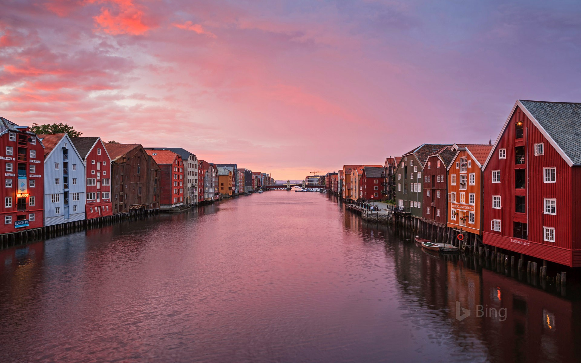 Historic fishing warehouses in Trondheim, Norway