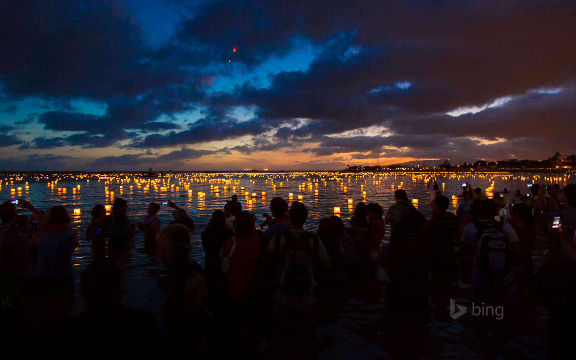 Lantern floating ceremony at Ala Moana Beach Park, Oahu, Hawaii